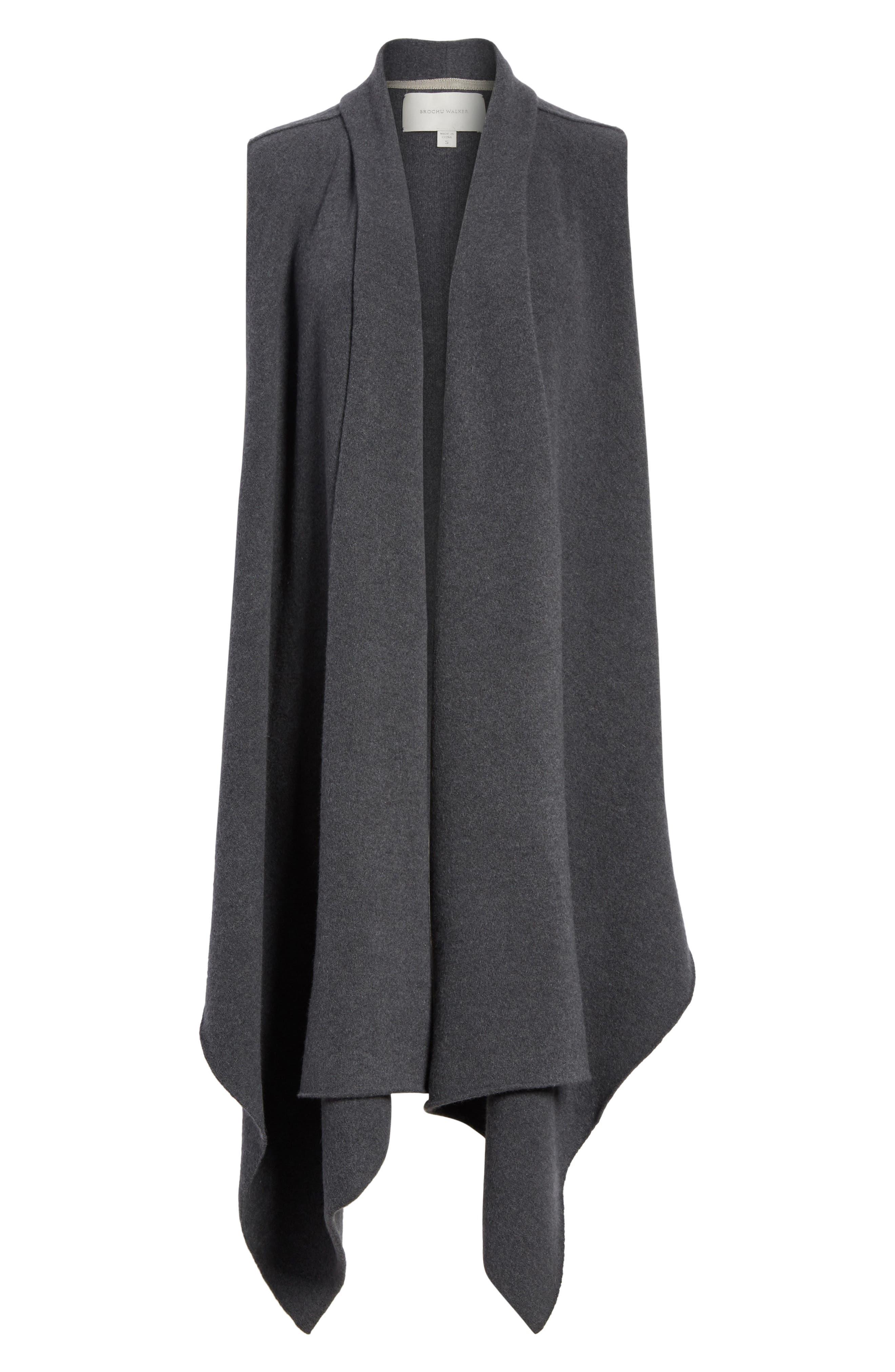 Sorin Merino Wool Blend Wrap Vest,                             Alternate thumbnail 6, color,                             Shale Melange