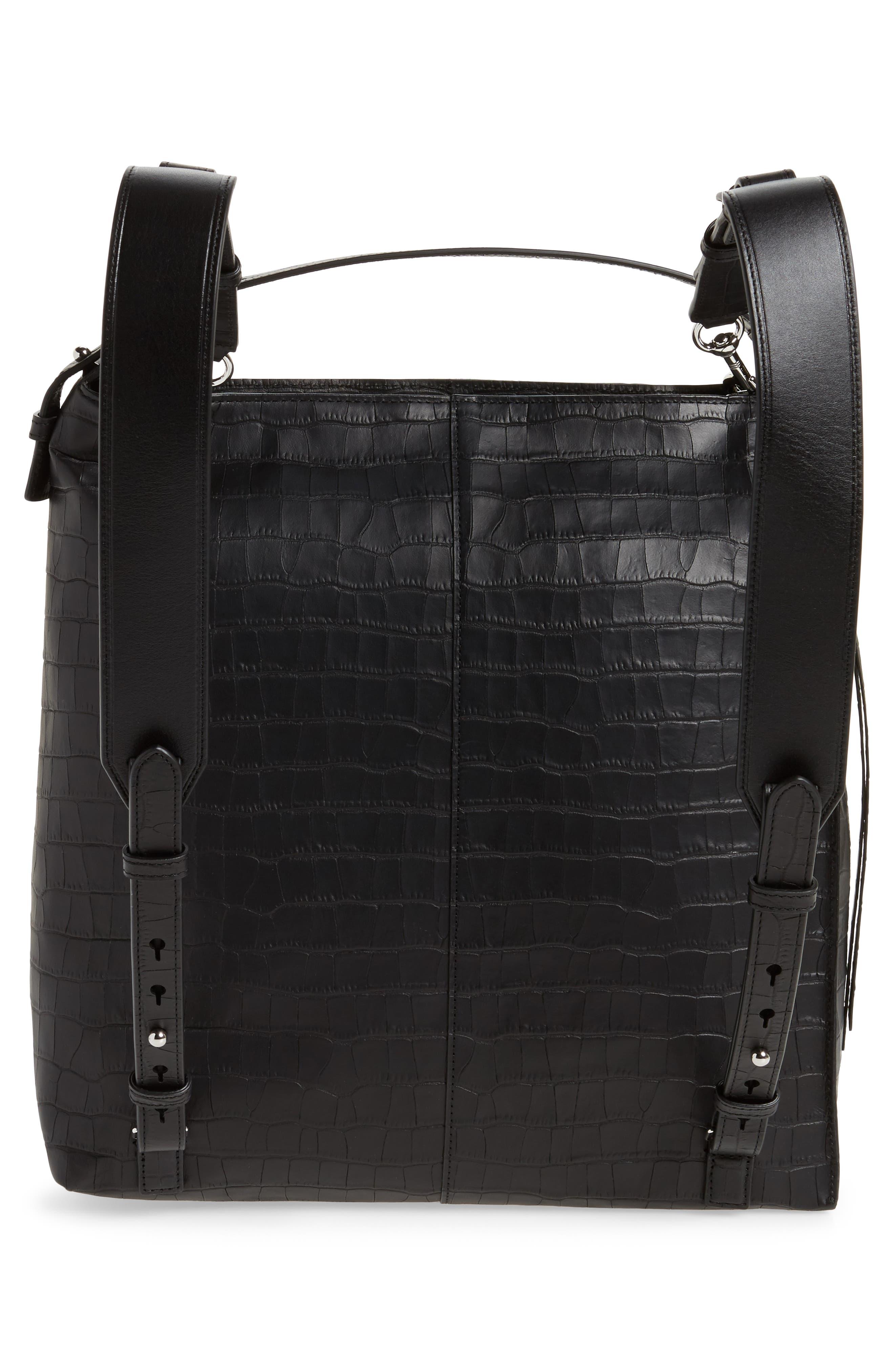 Atlas Convertible Leather Backpack,                             Alternate thumbnail 3, color,                             Black