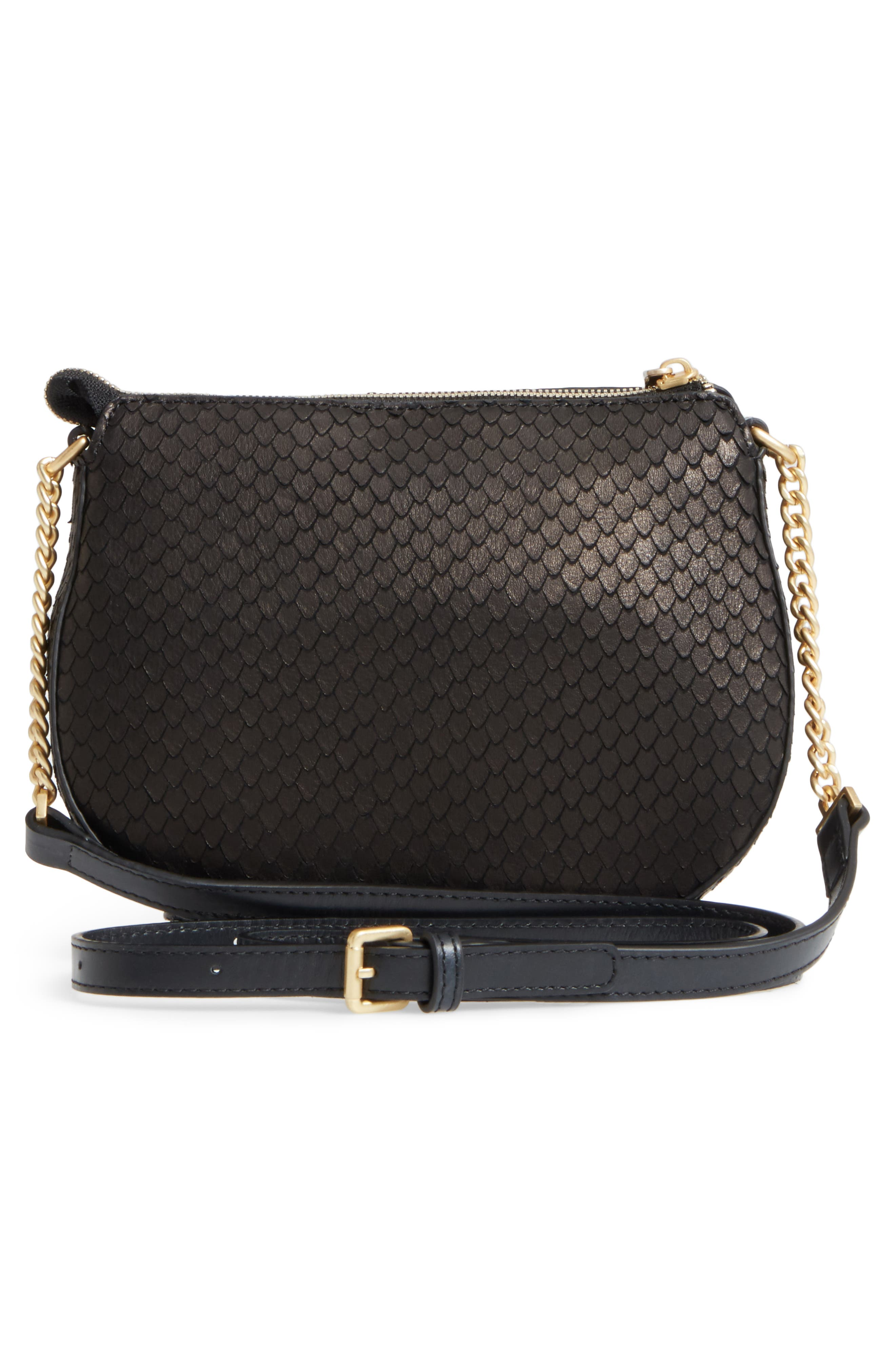 Céline Dion Octave Leather Crossbody Bag,                             Alternate thumbnail 3, color,                             Black Snake