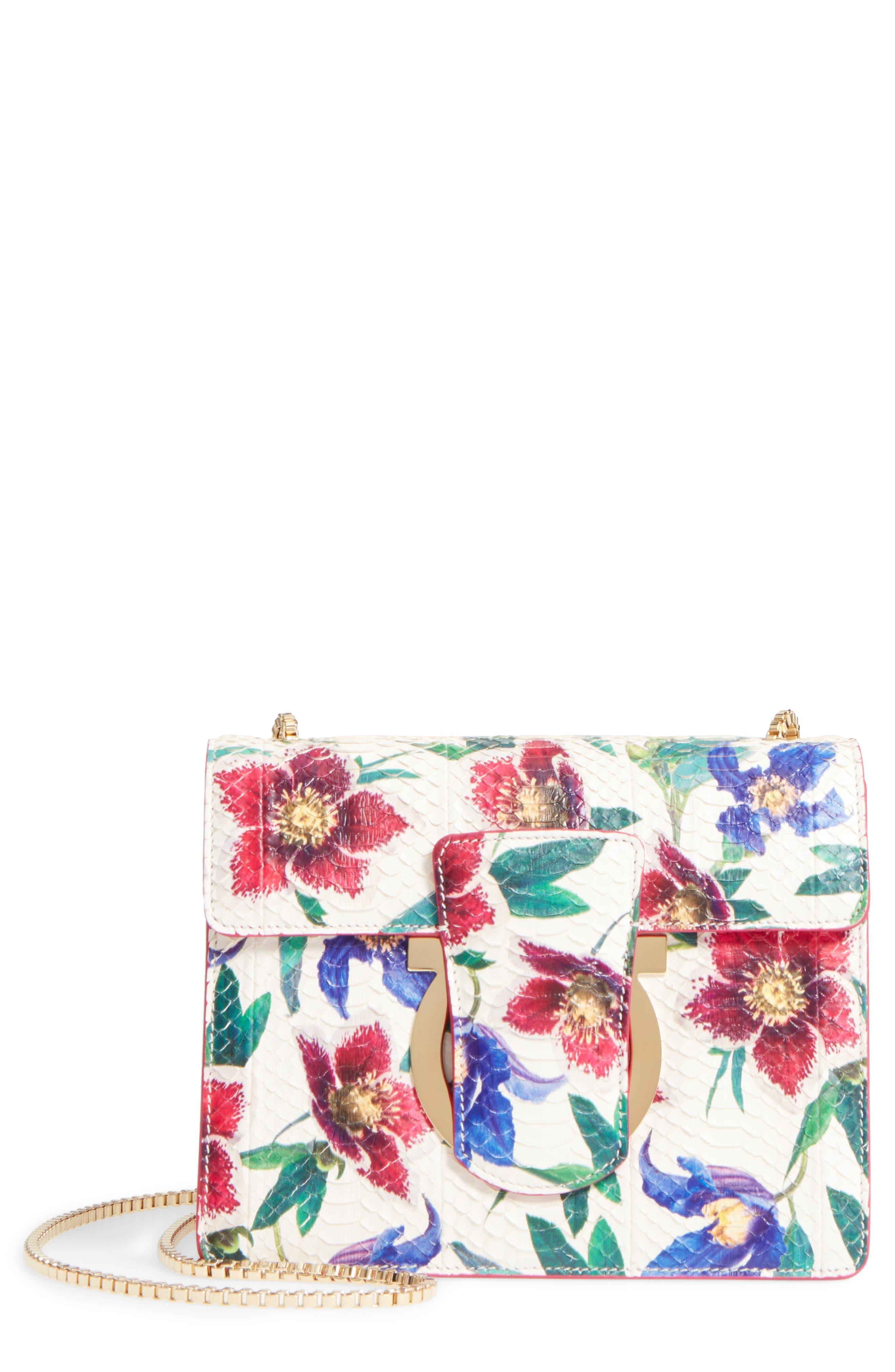 Salvatore Ferragamo Small Thalia Floral Print Genuine Snakeskin Shoulder Bag
