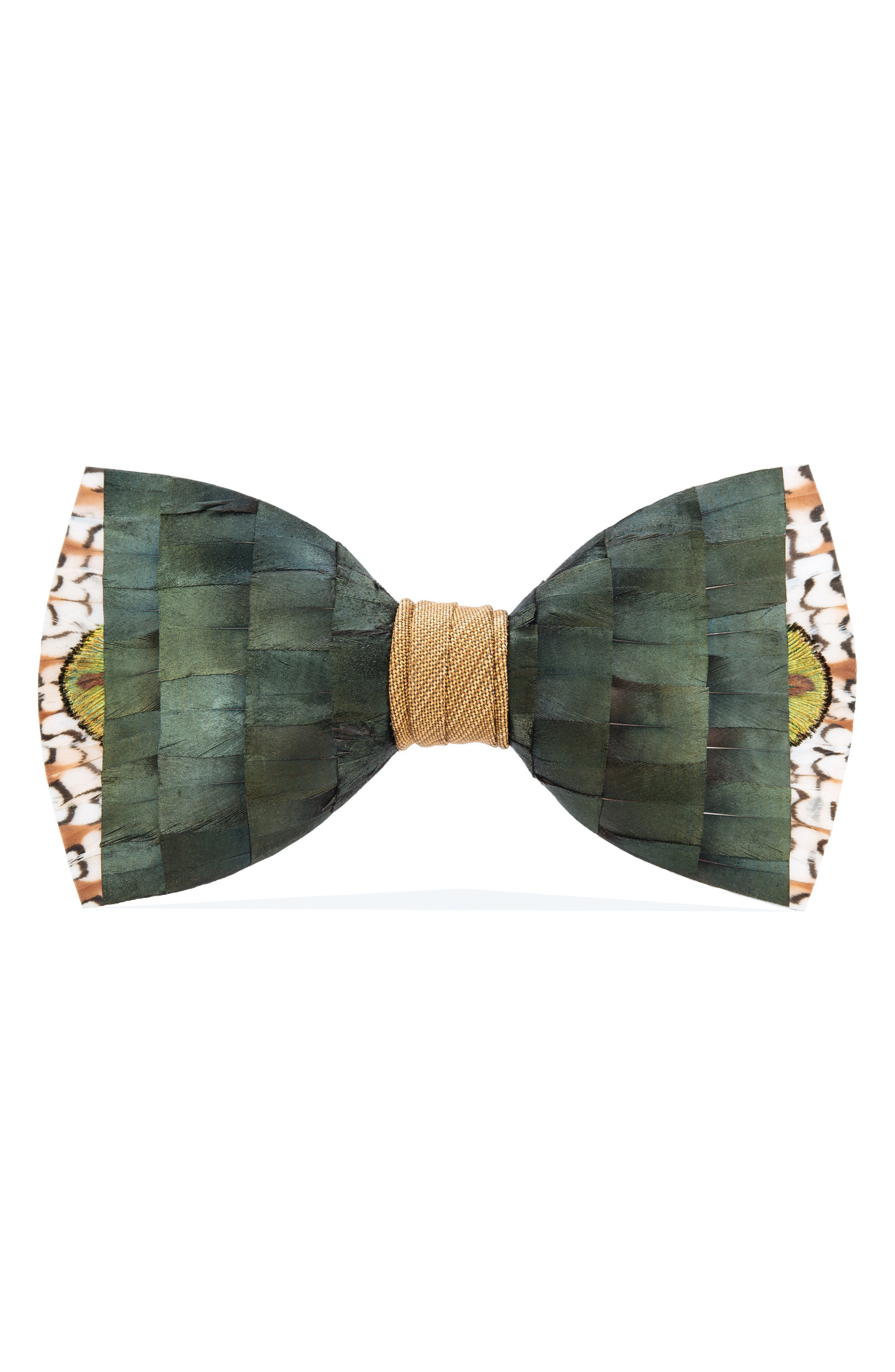 Brackish & Bell Lowry Feather Bow Tie,                         Main,                         color, Green