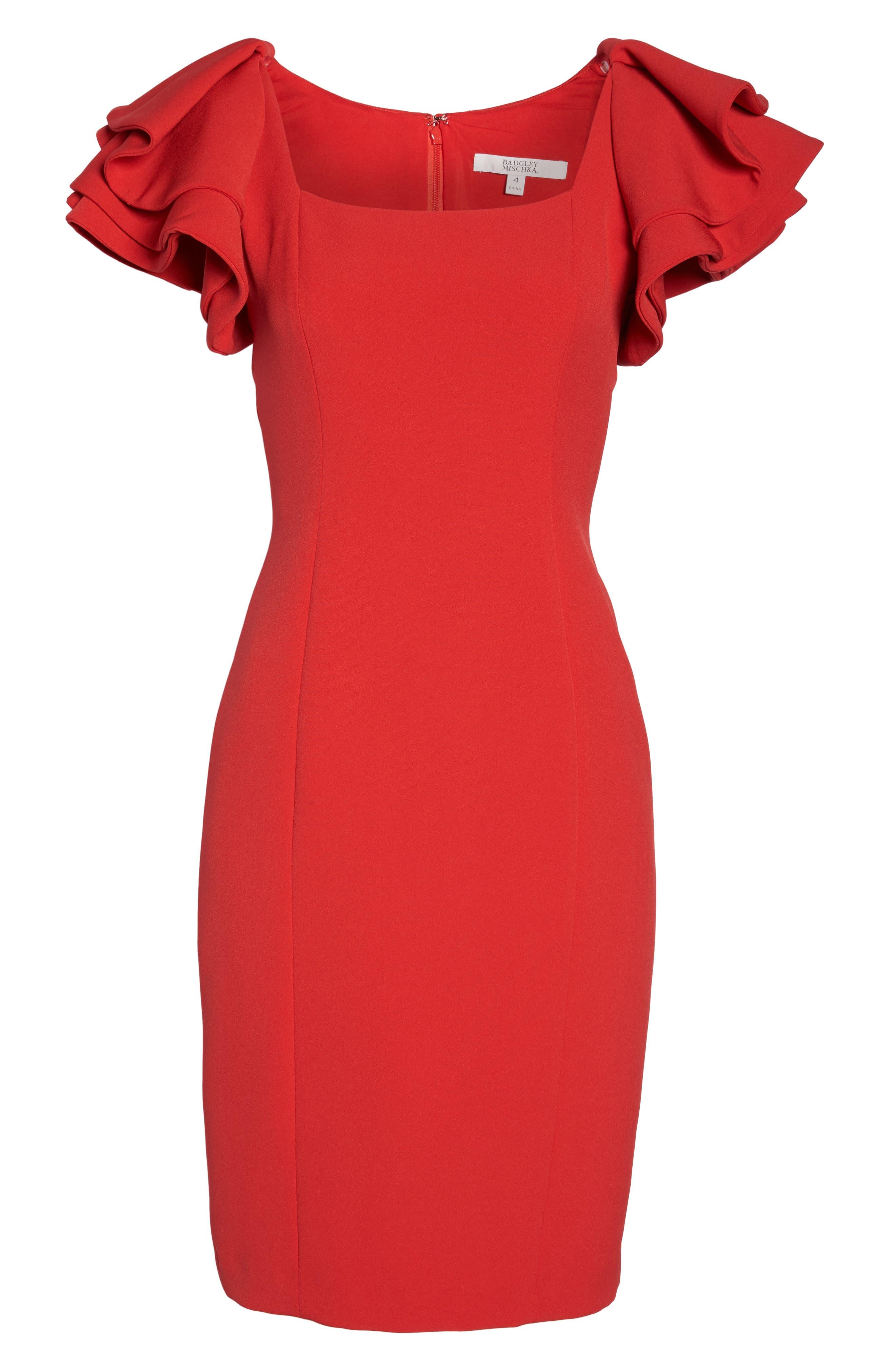 Ruffle Sleeve Sheath Dress,                             Alternate thumbnail 6, color,                             Red