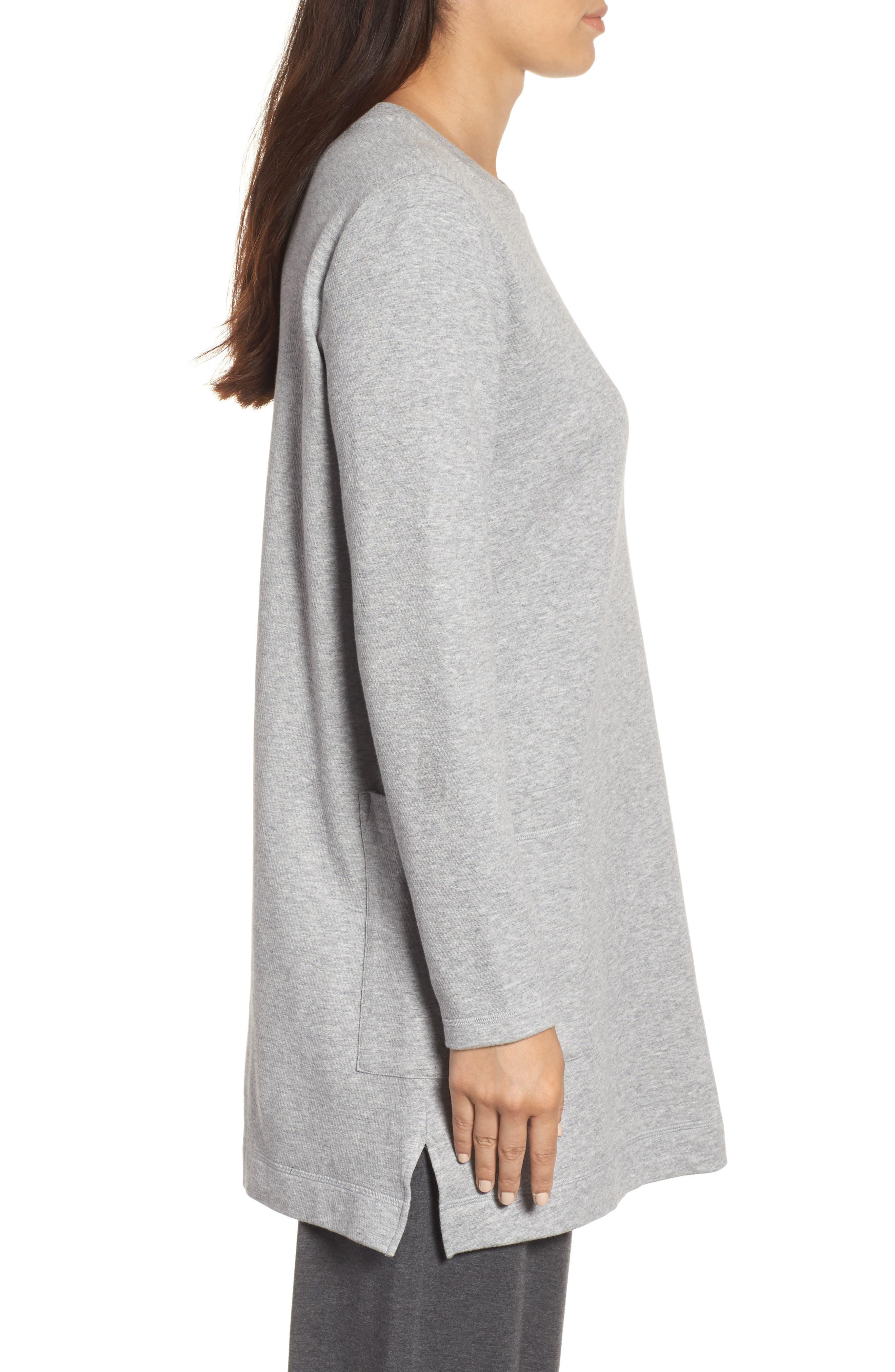 Double Knit Organic Cotton Tunic,                             Alternate thumbnail 3, color,                             Dark Pearl