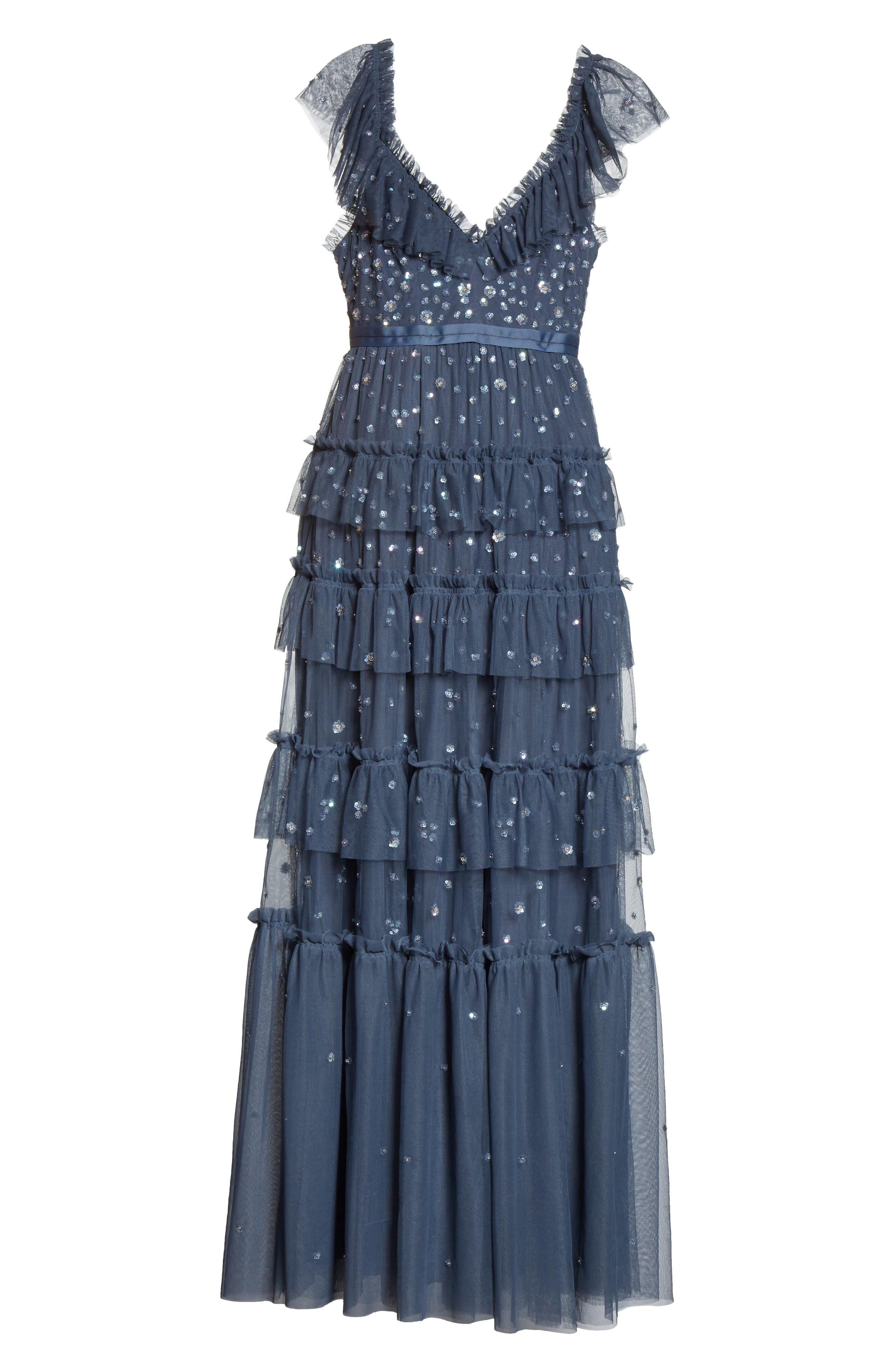 Sunburst Tiered Gown,                             Alternate thumbnail 6, color,                             Washed Indigo