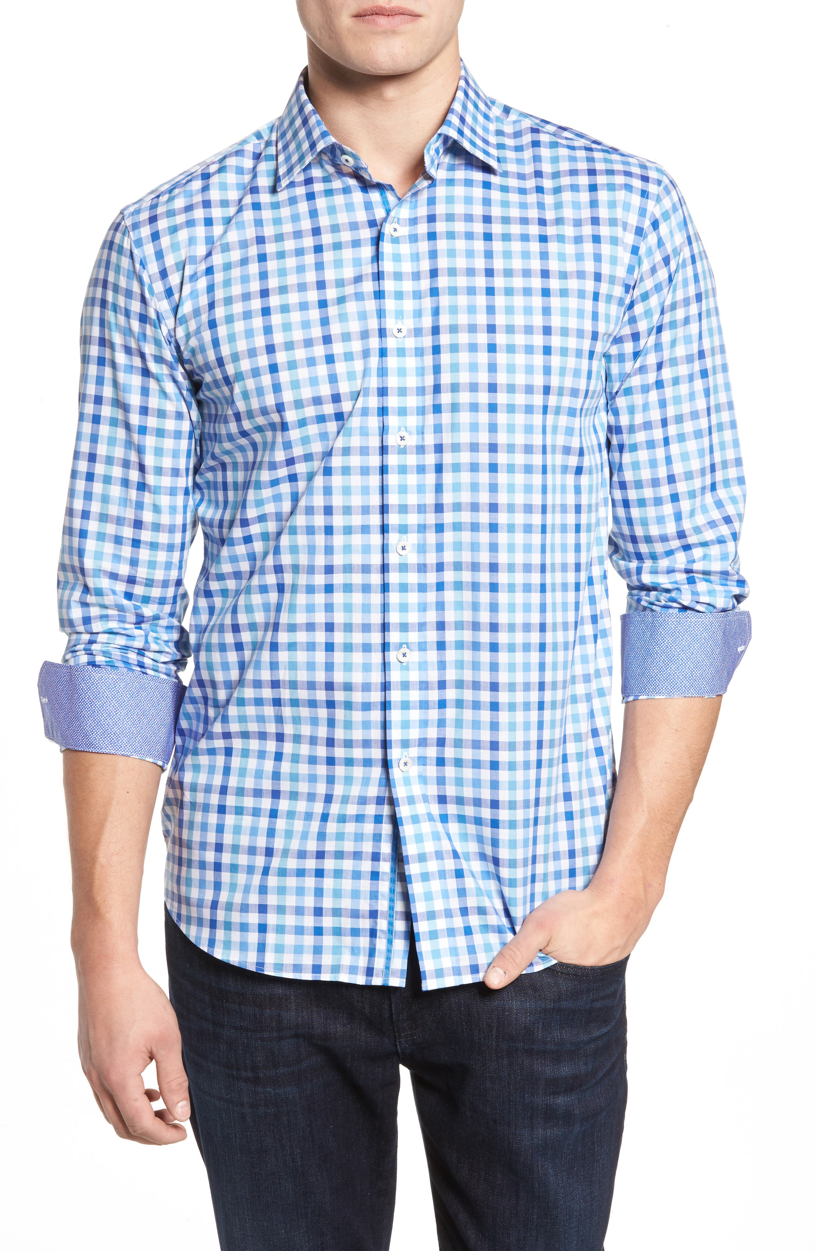 Alternate Image 1 Selected - Bugatchi Shaped Fit Plaid Sport Shirt