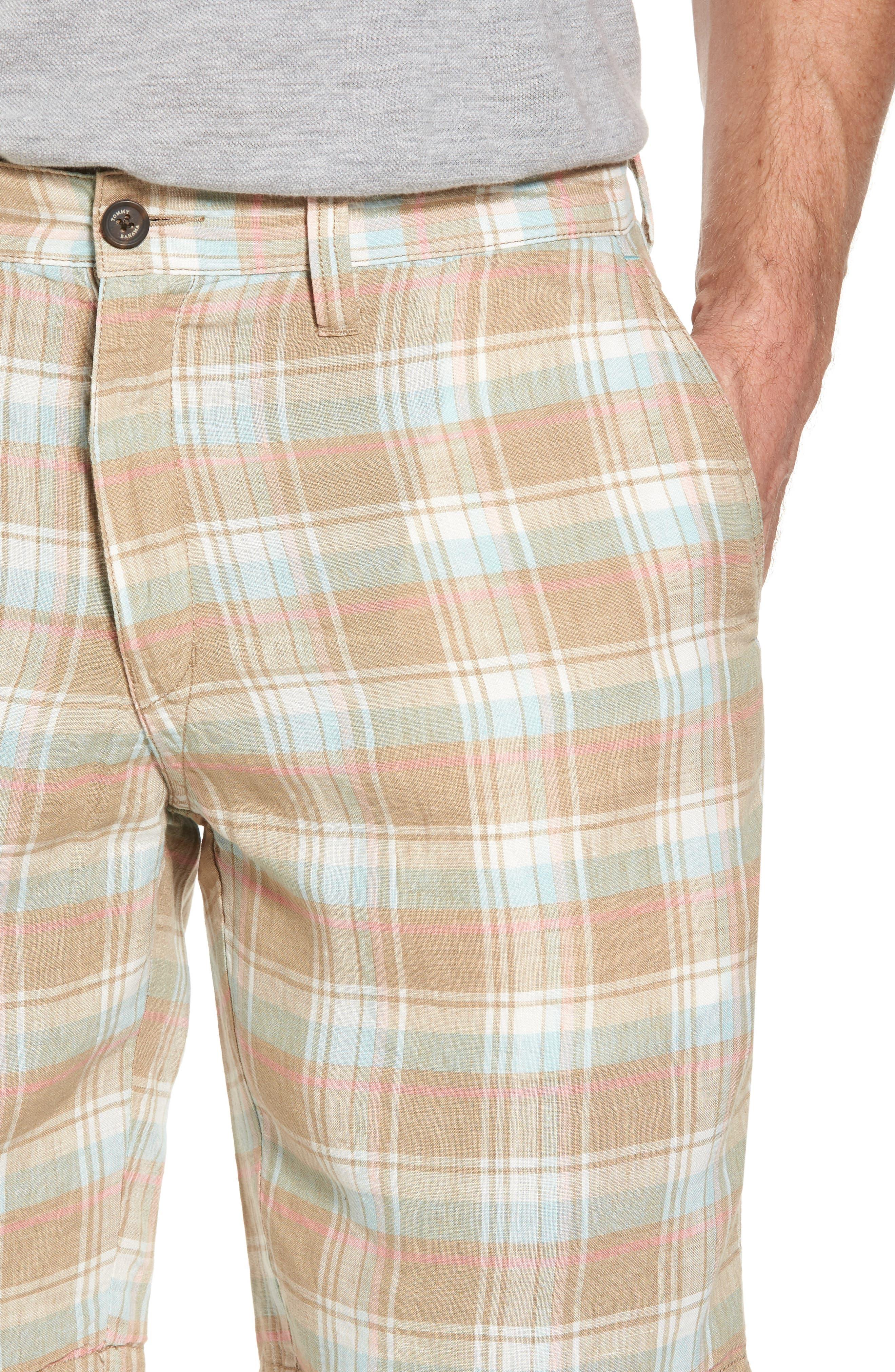 Plaid De Leon Reversible Shorts,                             Alternate thumbnail 5, color,                             Stone Khaki