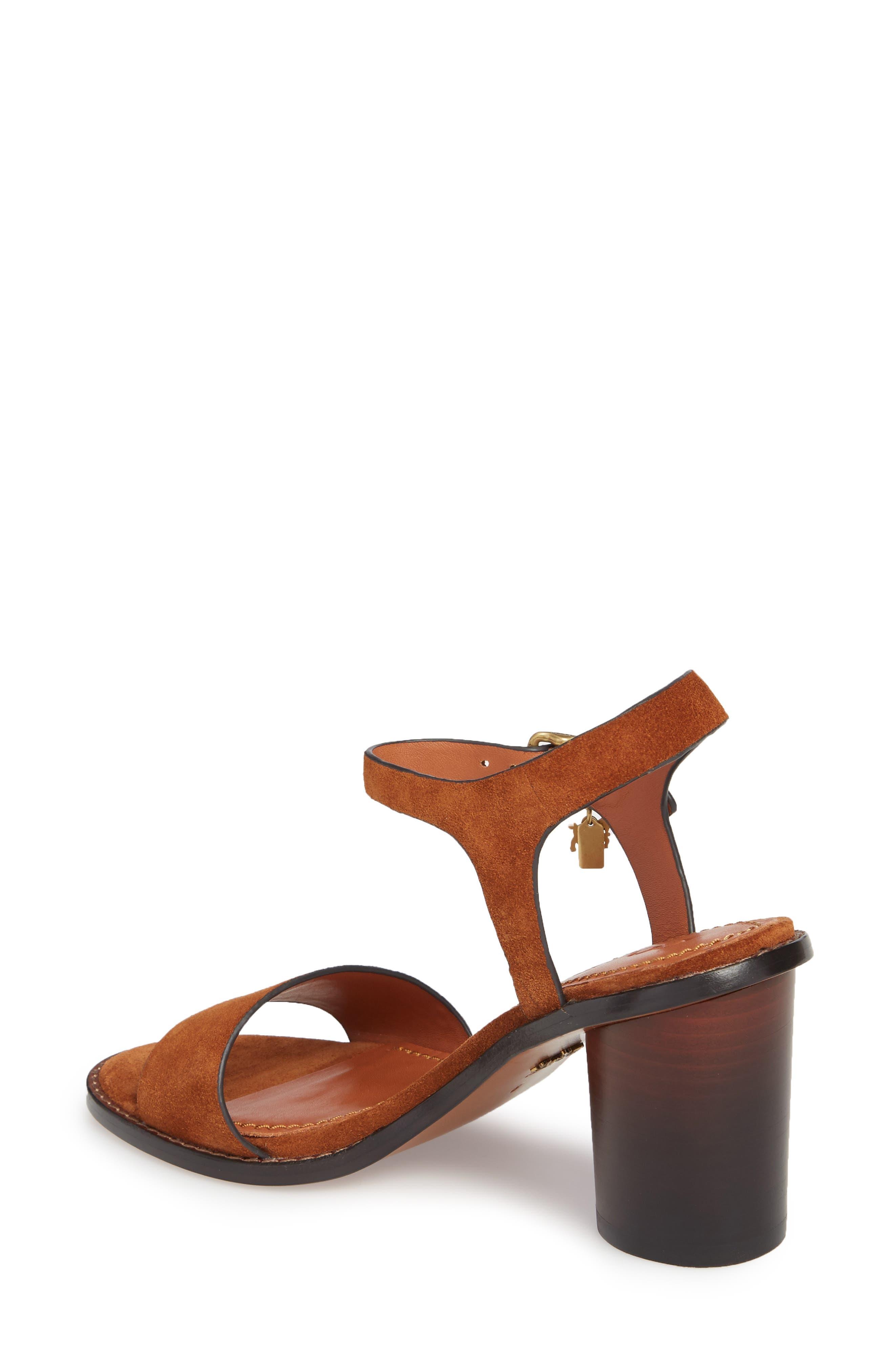 Column Heel Sandal,                             Alternate thumbnail 2, color,                             Saddle Suede