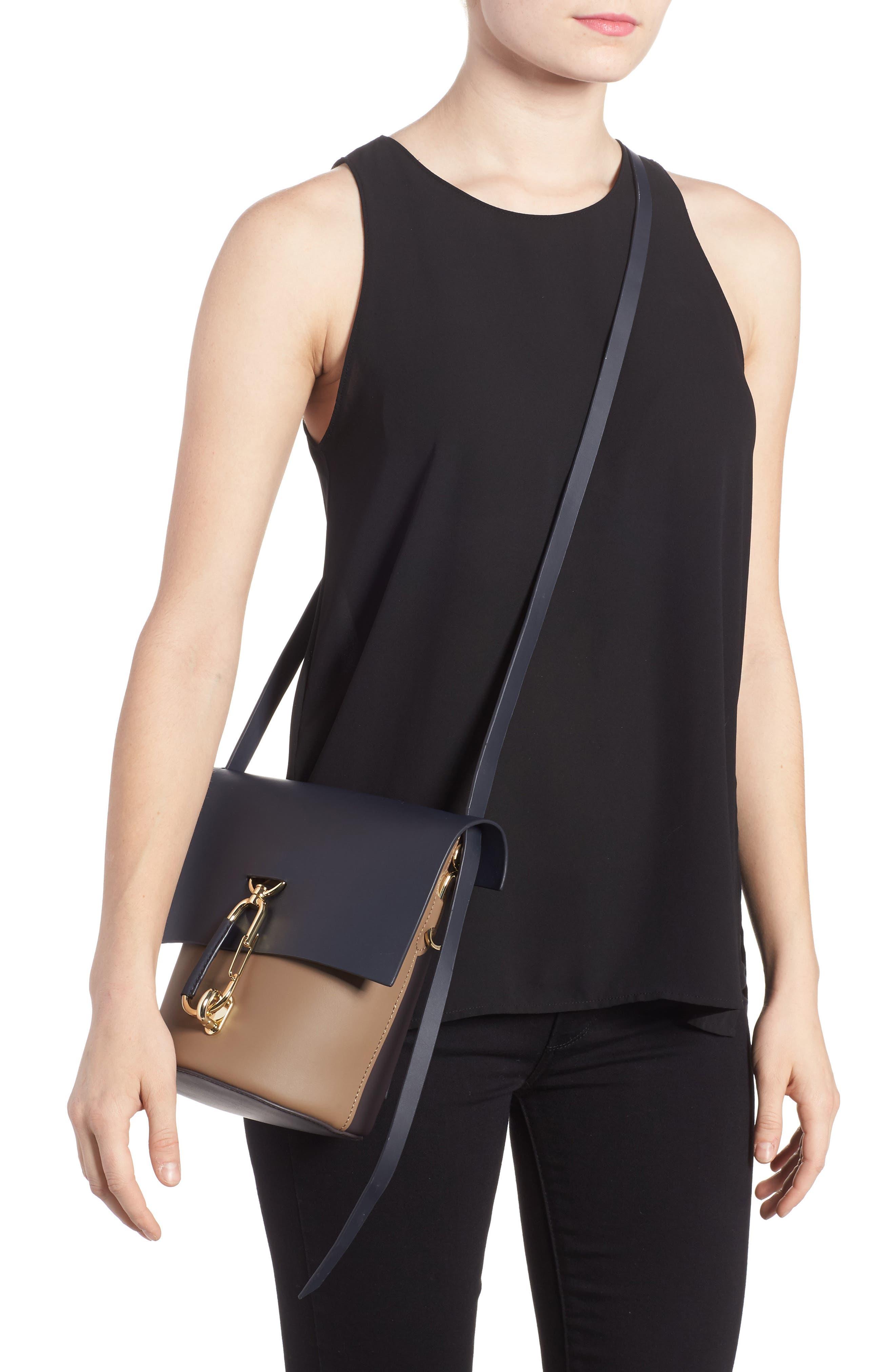Belay Colorblock Calfskin Leather Crossbody Bucket Bag,                             Alternate thumbnail 2, color,                             Navy