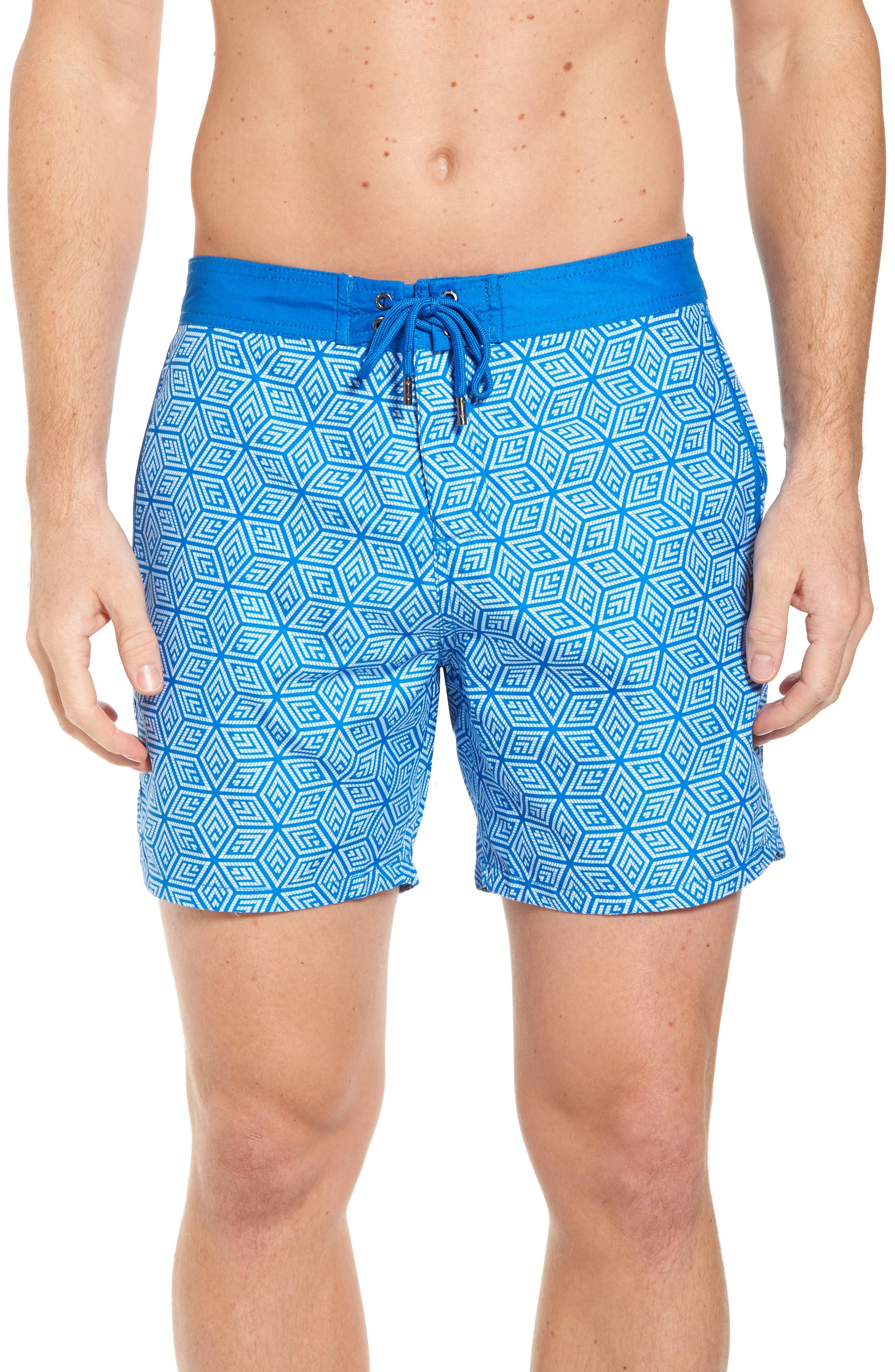 Mr. Swim Geo Print Swim Trunks,                         Main,                         color, Blue