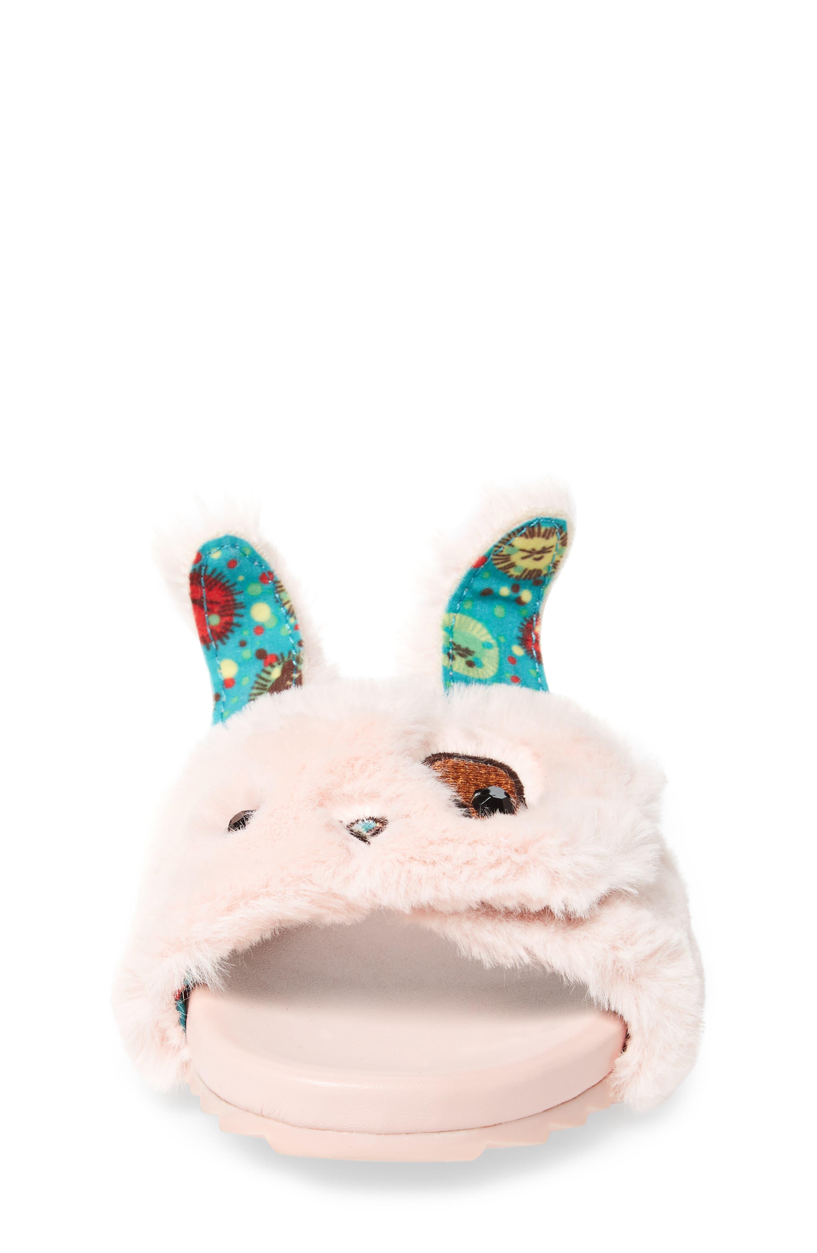 Willa Carrot Faux Fur Slide Sandal,                             Alternate thumbnail 5, color,                             Pink