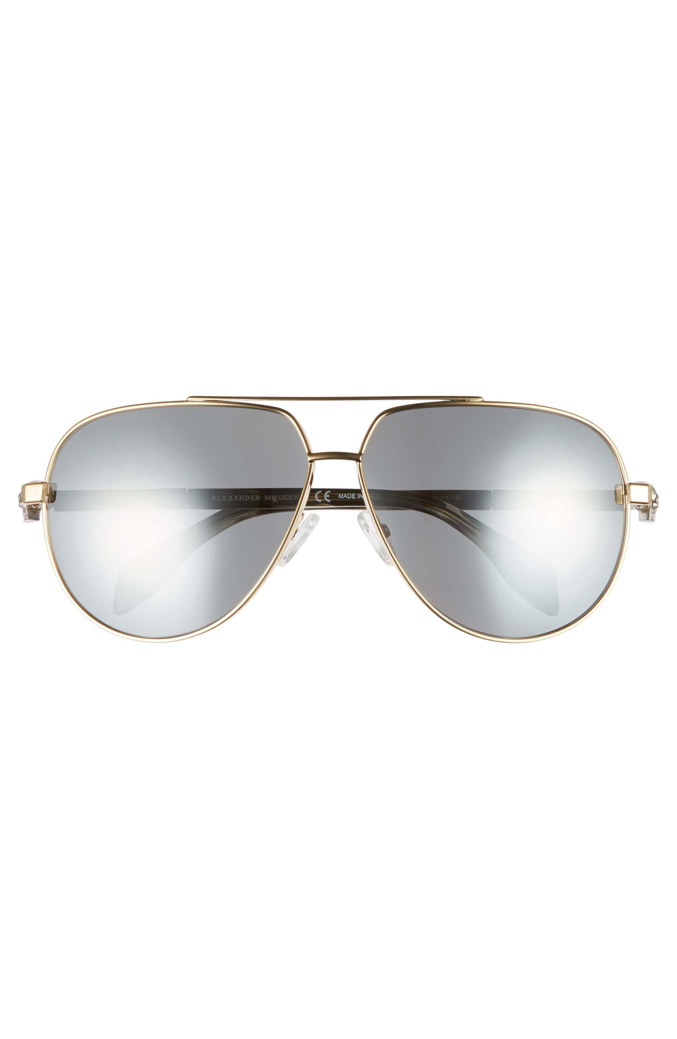 63mm Aviator Sunglasses,                             Alternate thumbnail 3, color,                             Gold