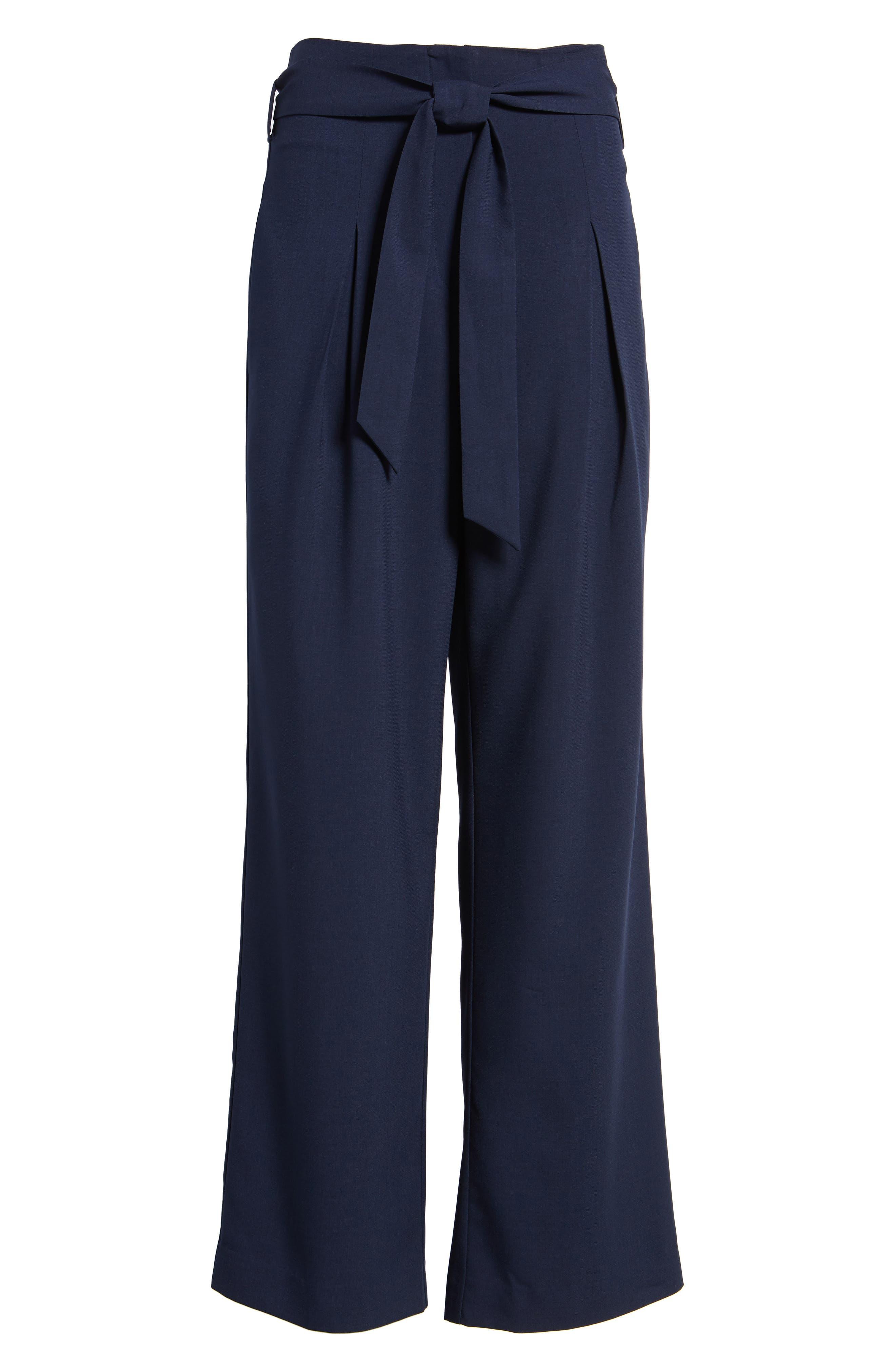Tie Front Pants,                             Alternate thumbnail 6, color,                             Navy