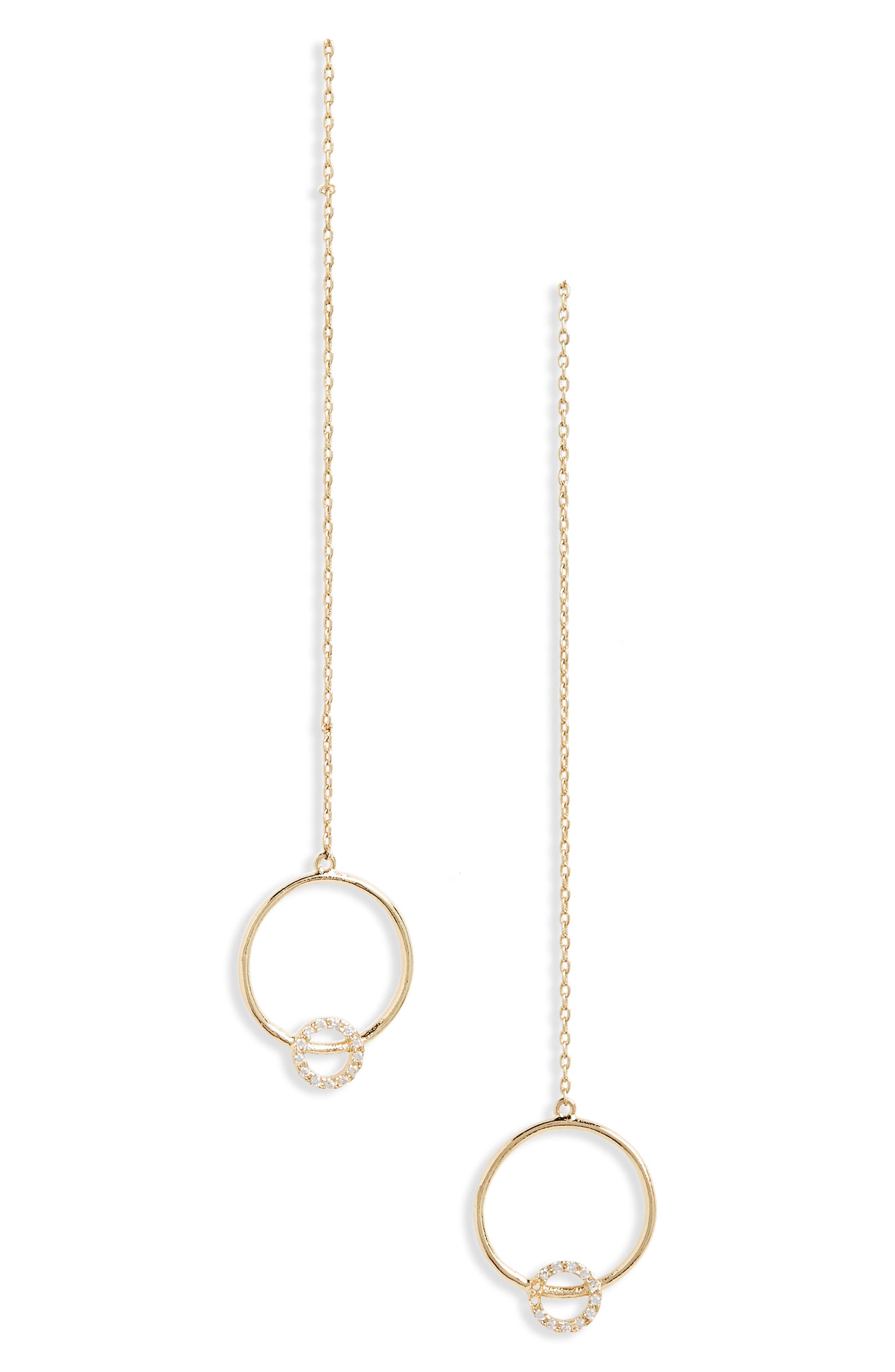 Crystal Circle Drop Earrings,                             Main thumbnail 1, color,                             Gold