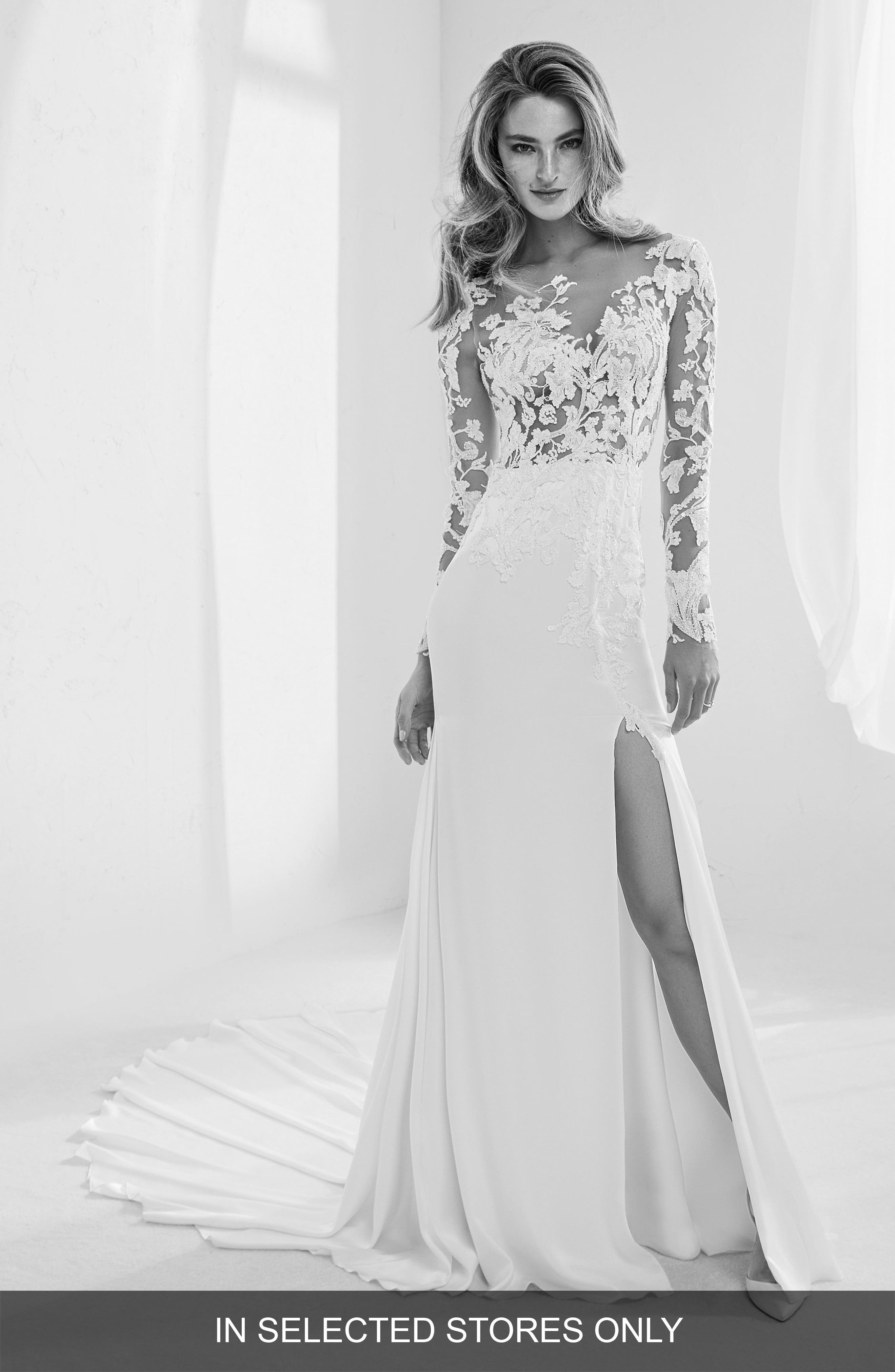 Raine Embellished Illusion Mermaid Gown,                         Main,                         color, Off Wh/ Crst/ Nd