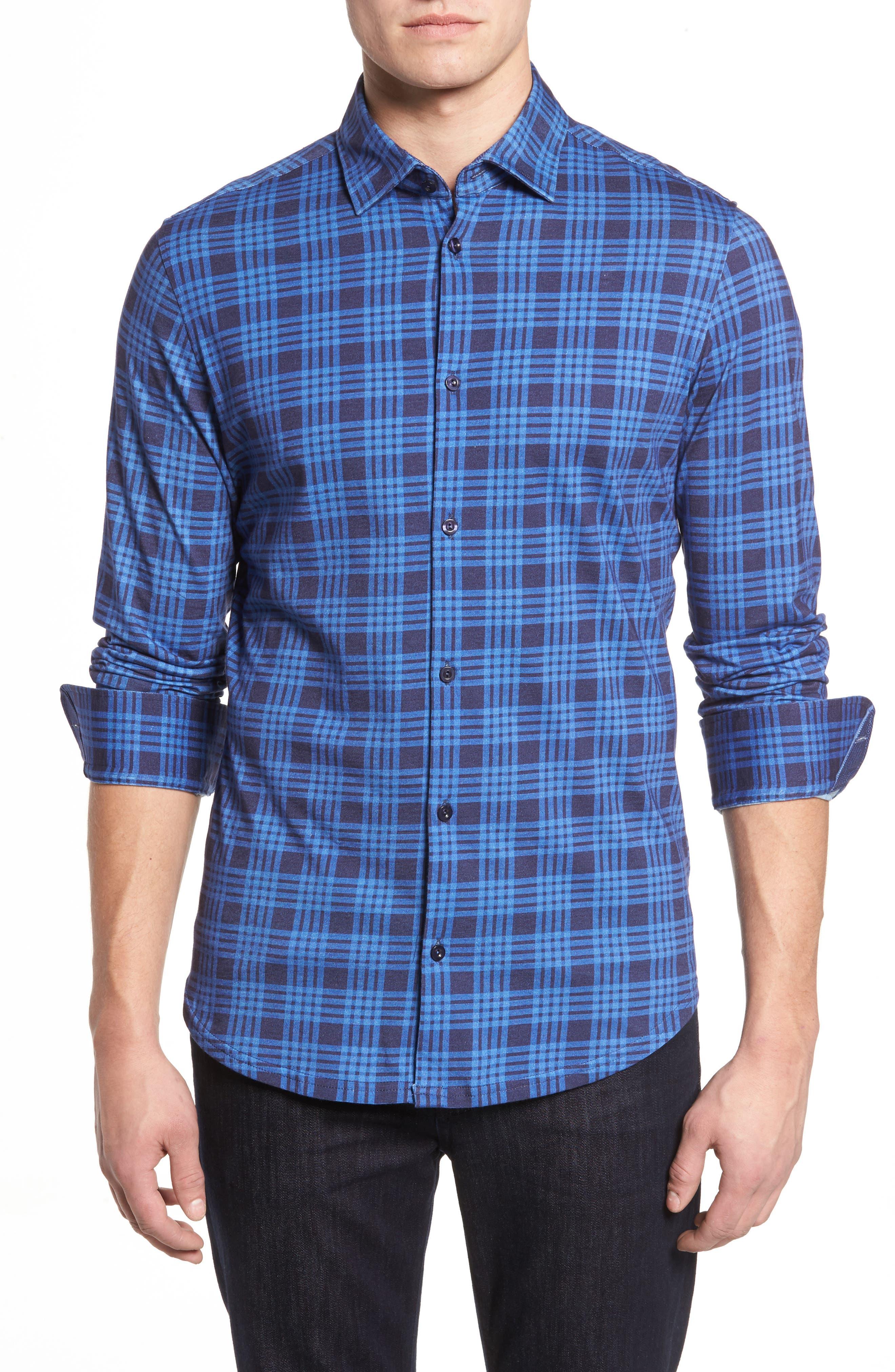 Slim Fit Plaid Knit Sport Shirt,                         Main,                         color, Navy