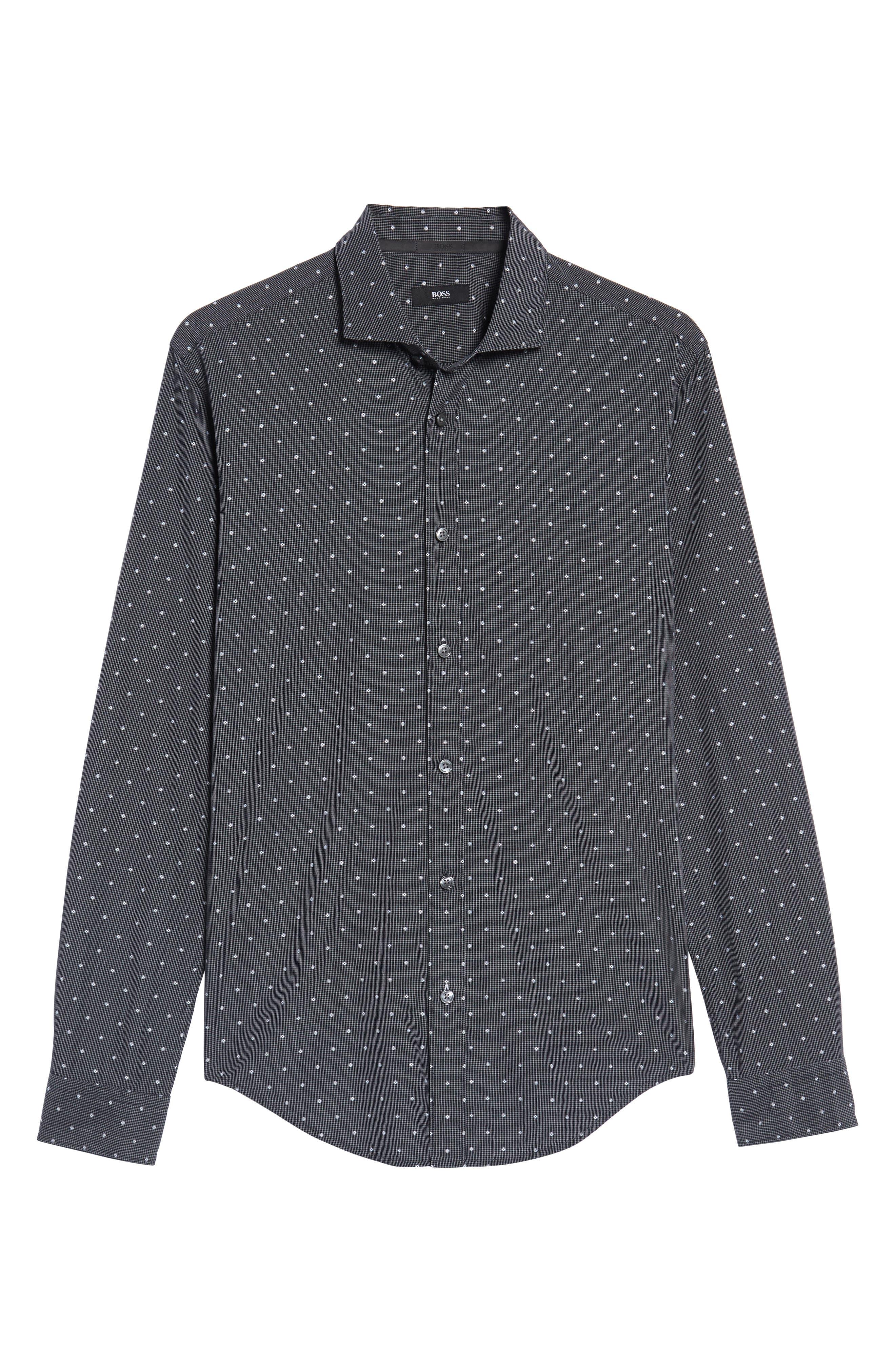Ridley Slim Fit Dot Sport Shirt,                             Alternate thumbnail 6, color,                             Black