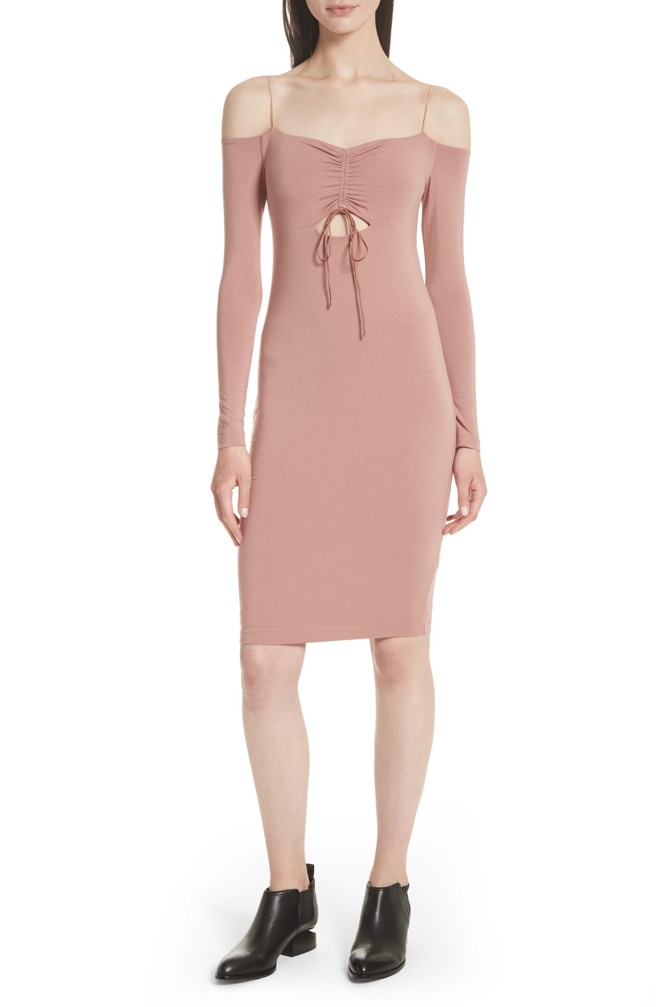 Stretch Jersey Cold Shoulder Dress,                             Main thumbnail 1, color,                             Guava