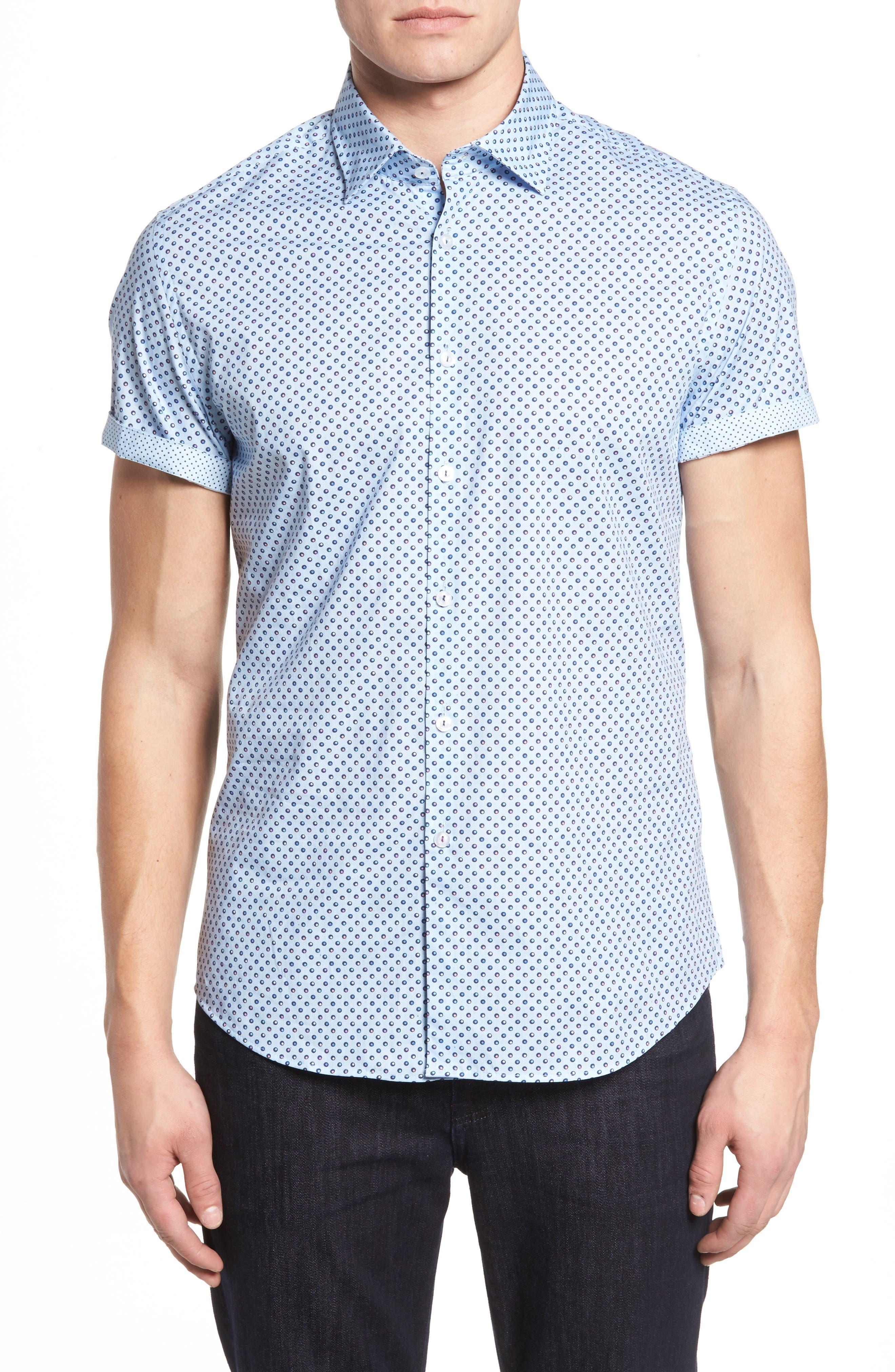 Trim Fit Circle Print Sport Shirt,                             Main thumbnail 1, color,                             Sky Blue