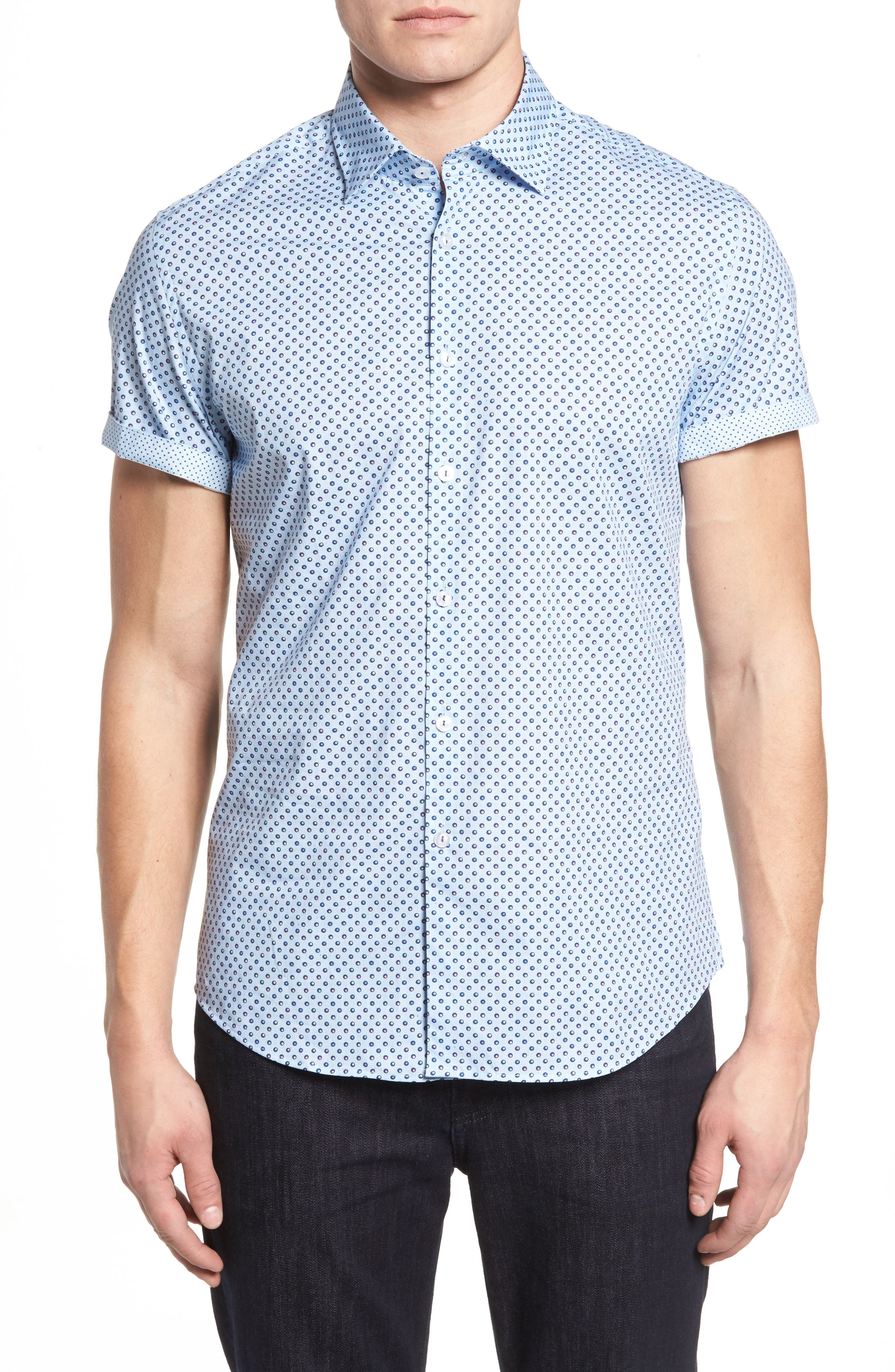 Main Image - Stone Rose Trim Fit Circle Print Sport Shirt