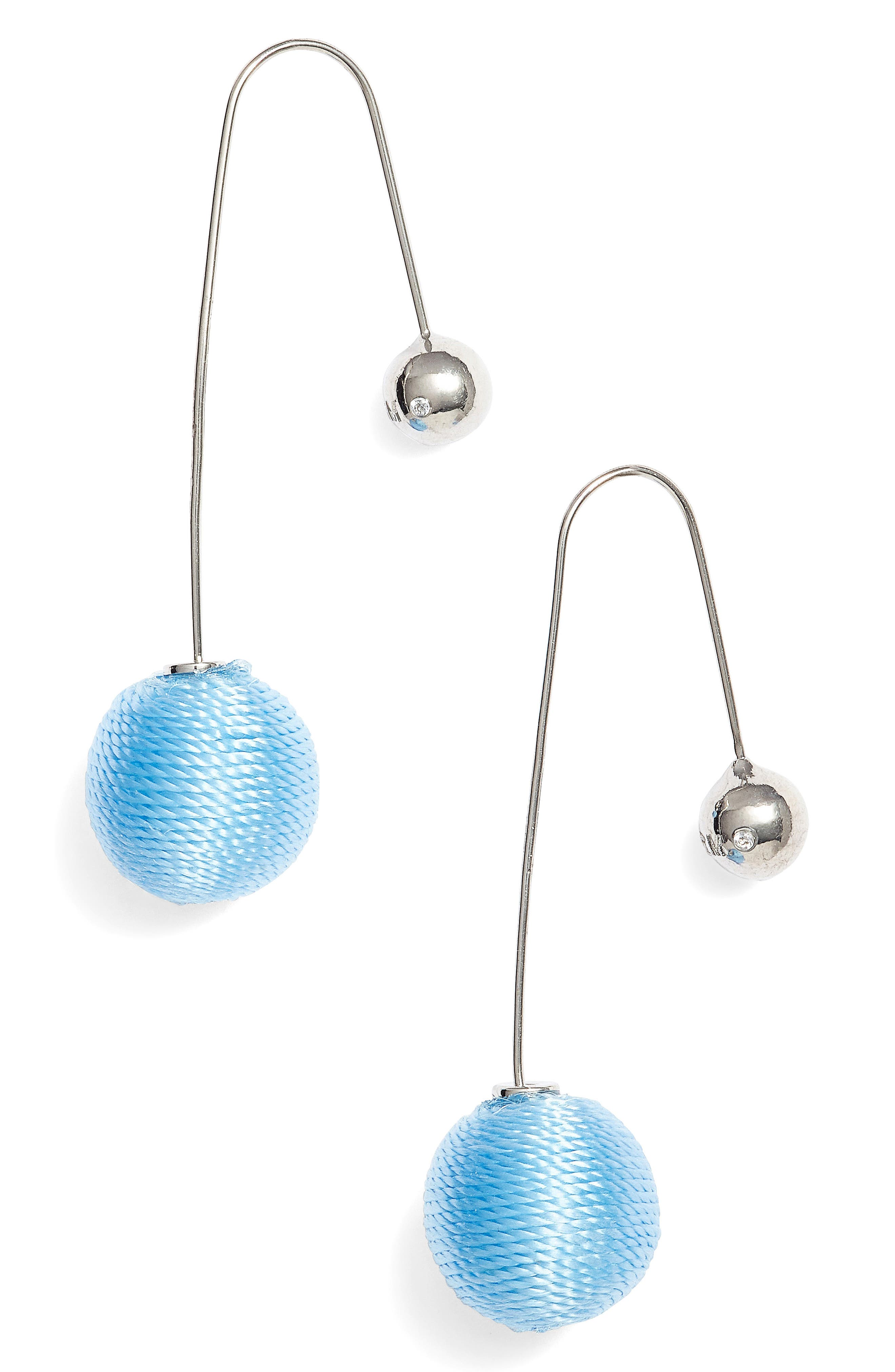 Contrast Sphere Threader Earrings,                             Main thumbnail 1, color,                             Blue/ Silver