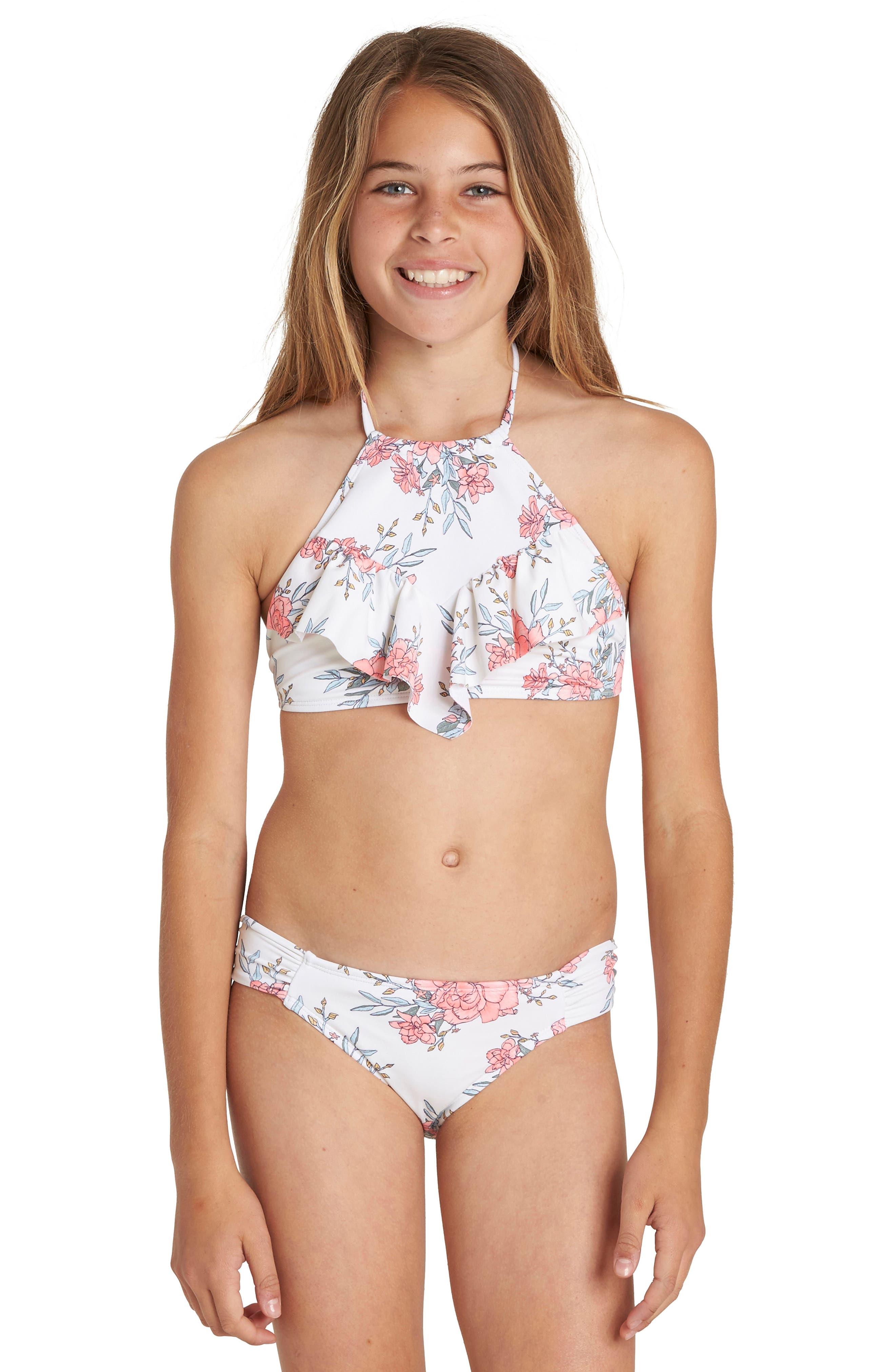 Nova Floral Two-Piece Swimsuit,                             Main thumbnail 1, color,                             Seashell