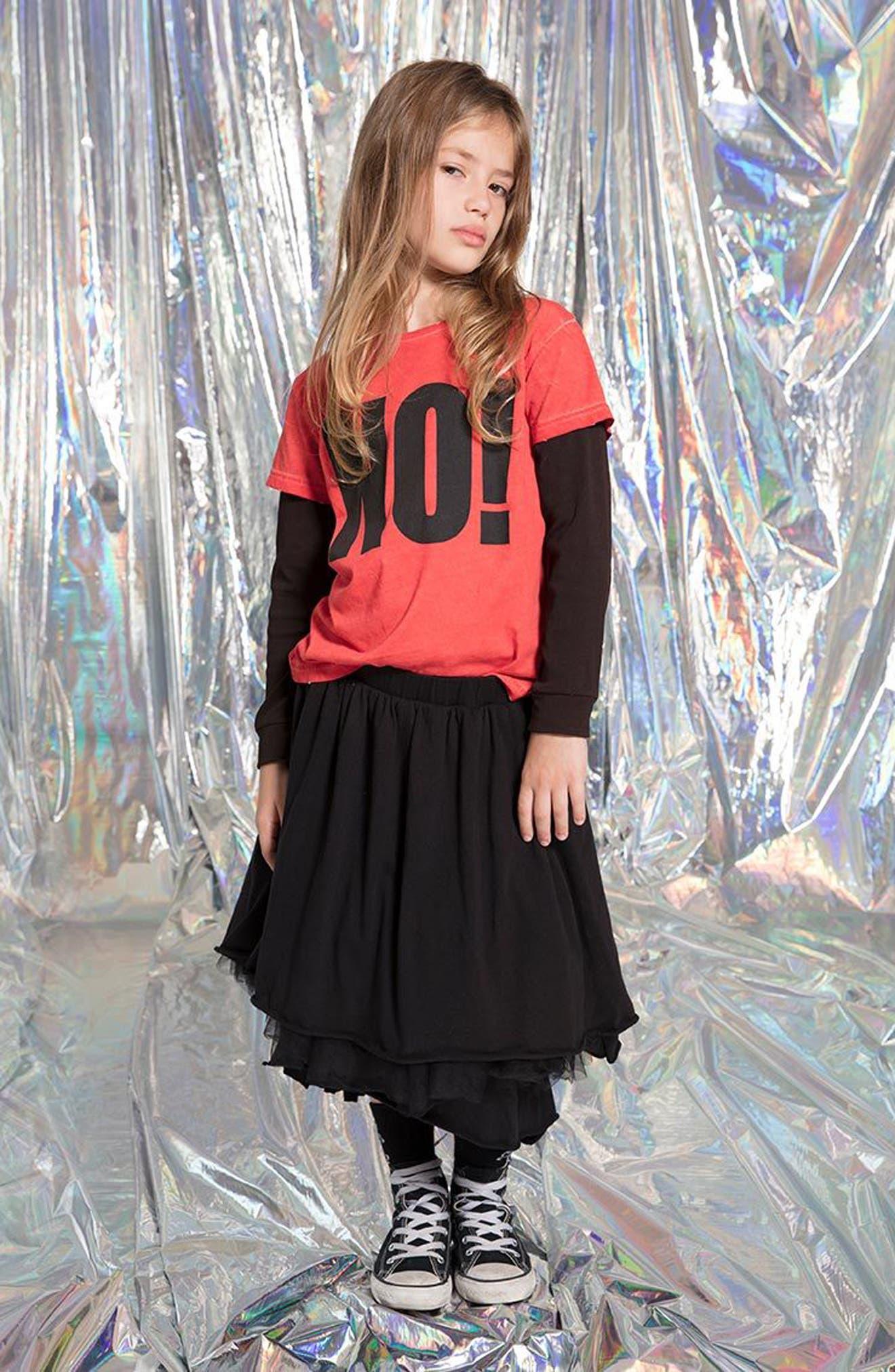 Layered Tulle Skirt,                             Alternate thumbnail 3, color,                             Black