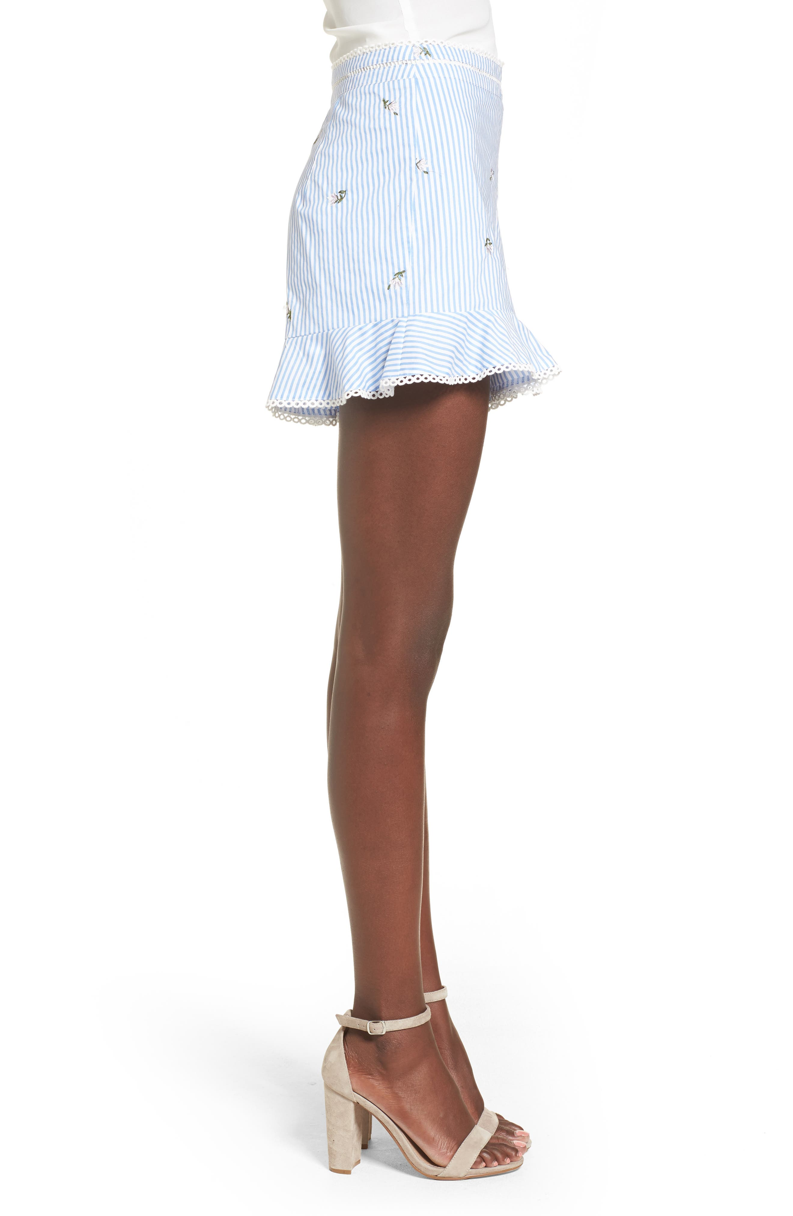 Embroidered Shorts,                             Alternate thumbnail 3, color,                             Blue/ Ivory Stripe