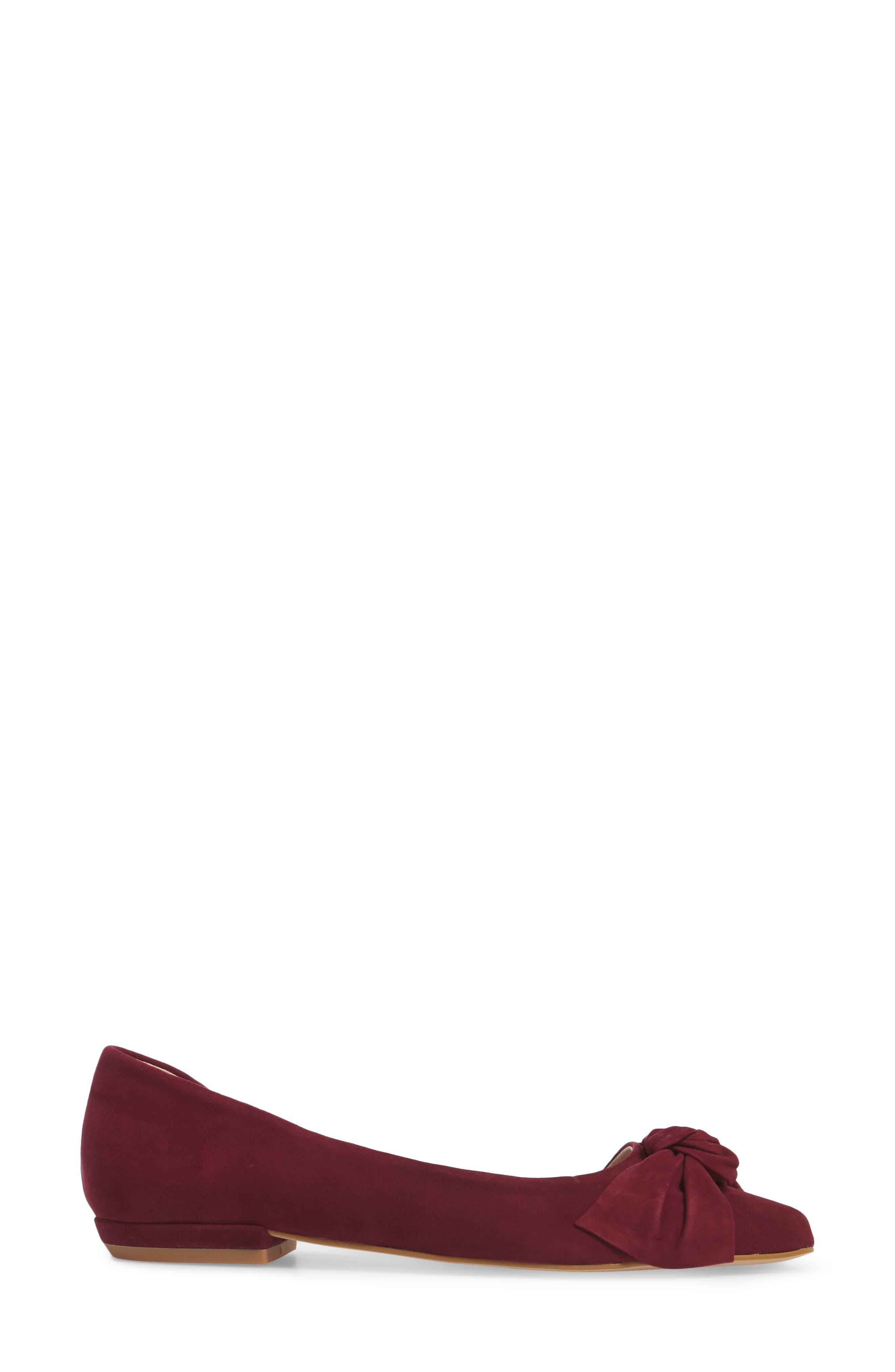 Edina d'Orsay Bow Flat,                             Alternate thumbnail 3, color,                             Burgundy Suede
