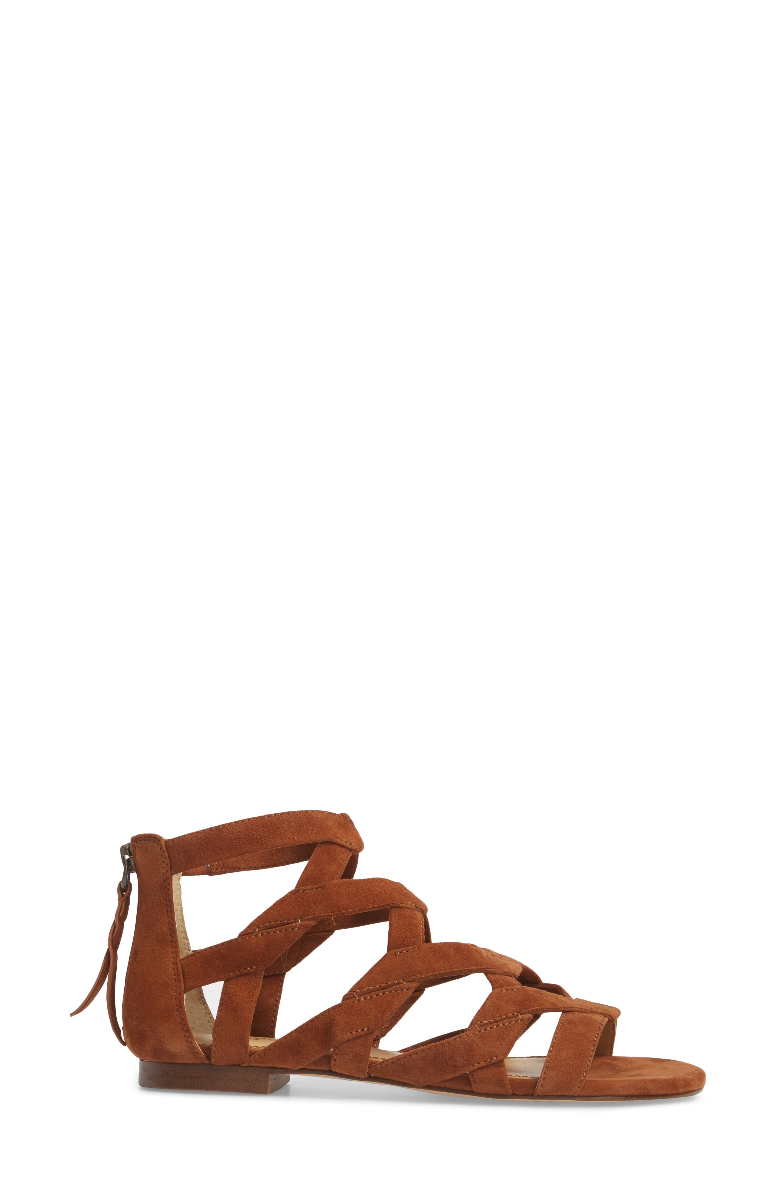 Barrett Mid Top Cage Sandal,                             Alternate thumbnail 3, color,                             Caramel Suede
