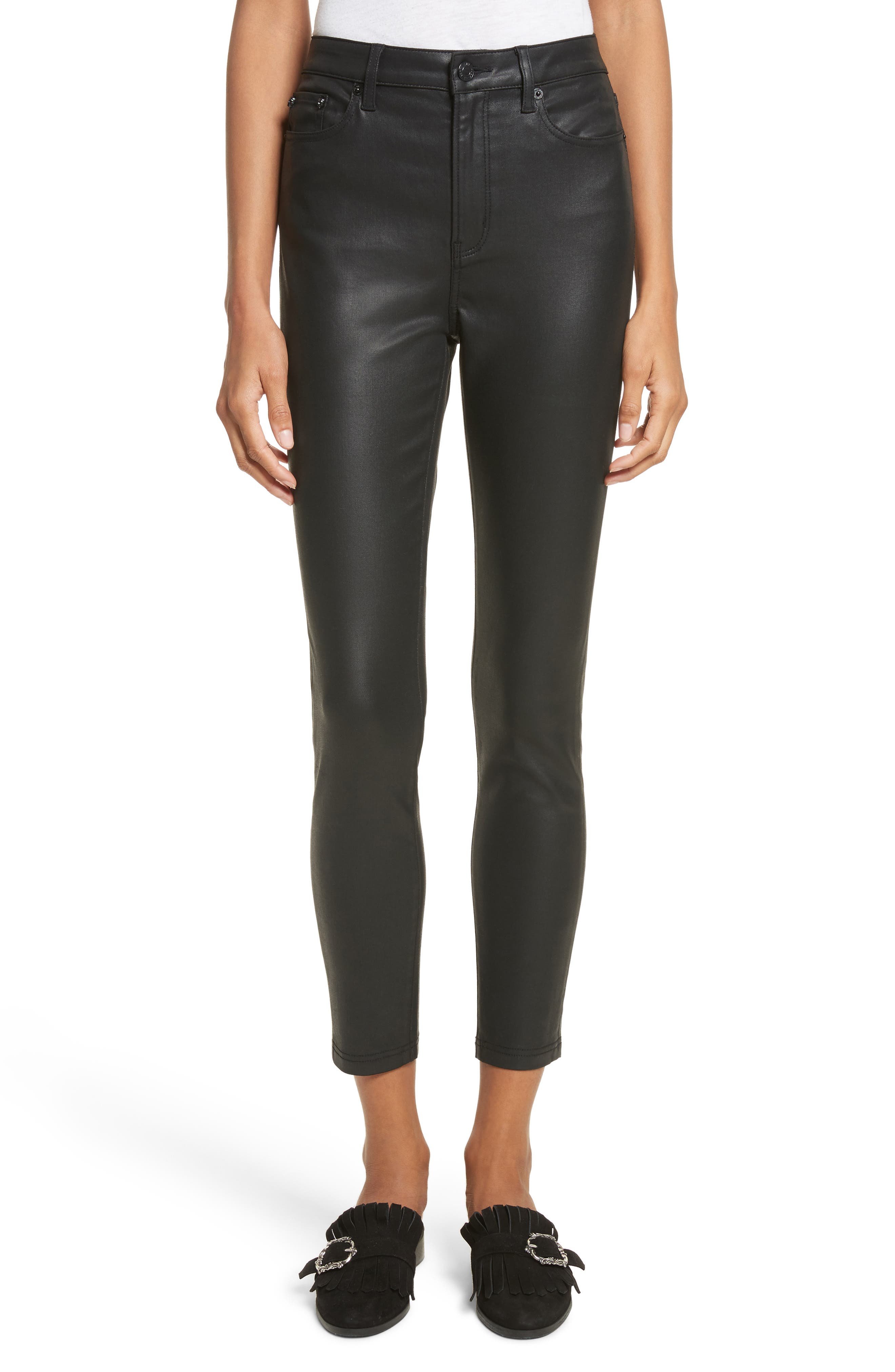Coated Stretch Ankle Skinny Jeans,                         Main,                         color, Black