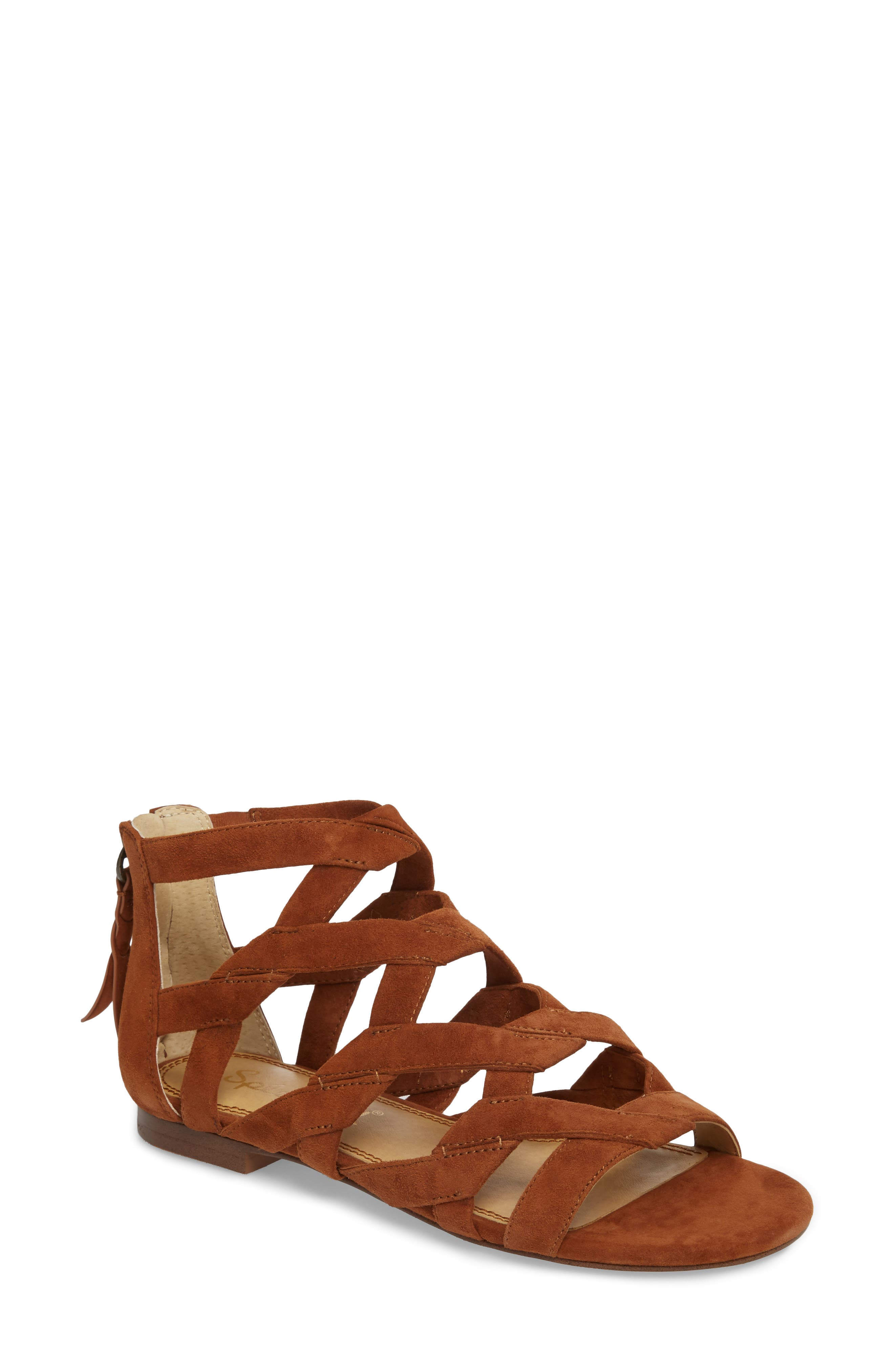Barrett Mid Top Cage Sandal,                             Main thumbnail 1, color,                             Caramel Suede