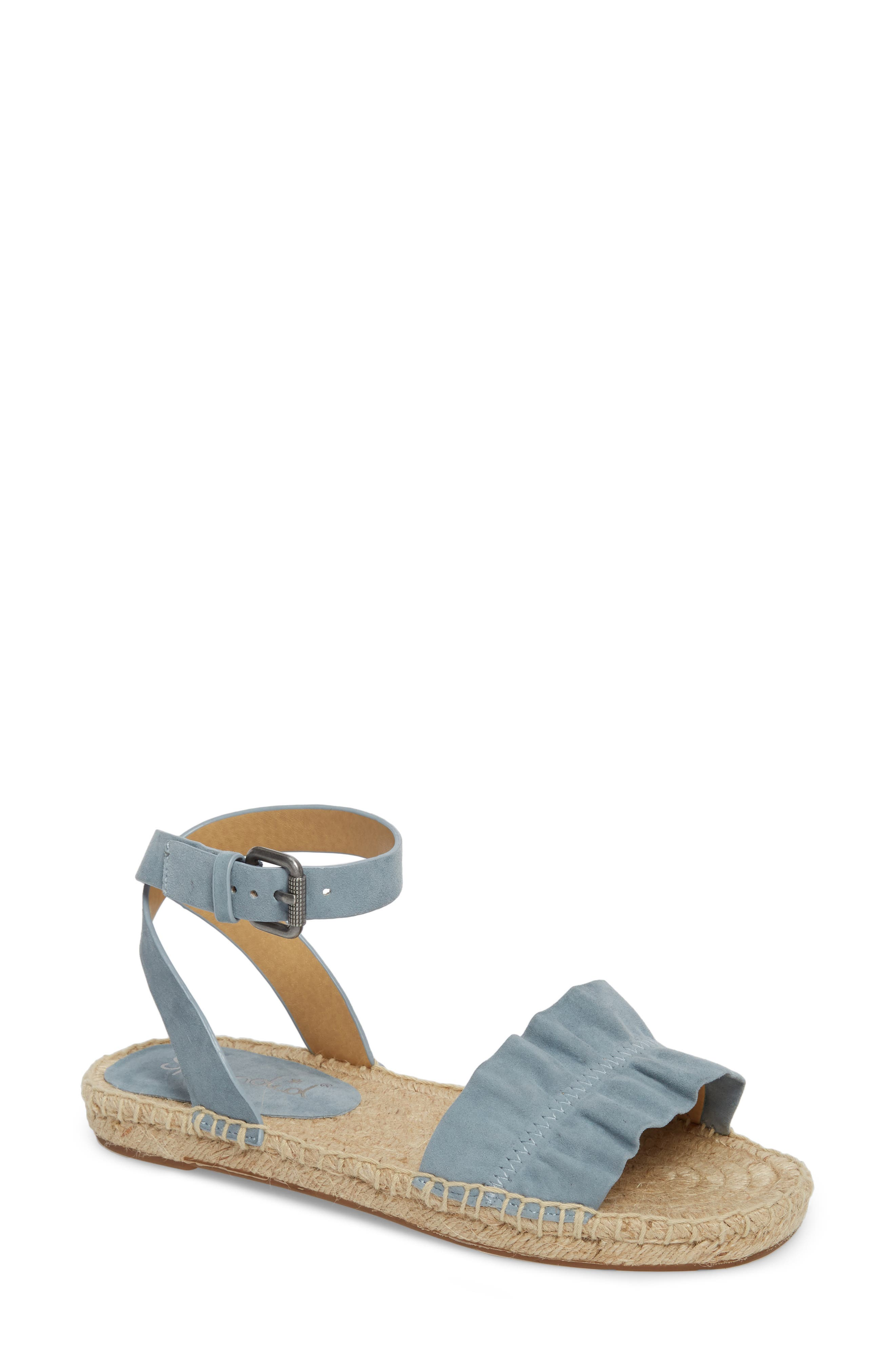 Becca Ruffled Espadrille Sandal,                             Main thumbnail 1, color,                             Shadow Blue Suede