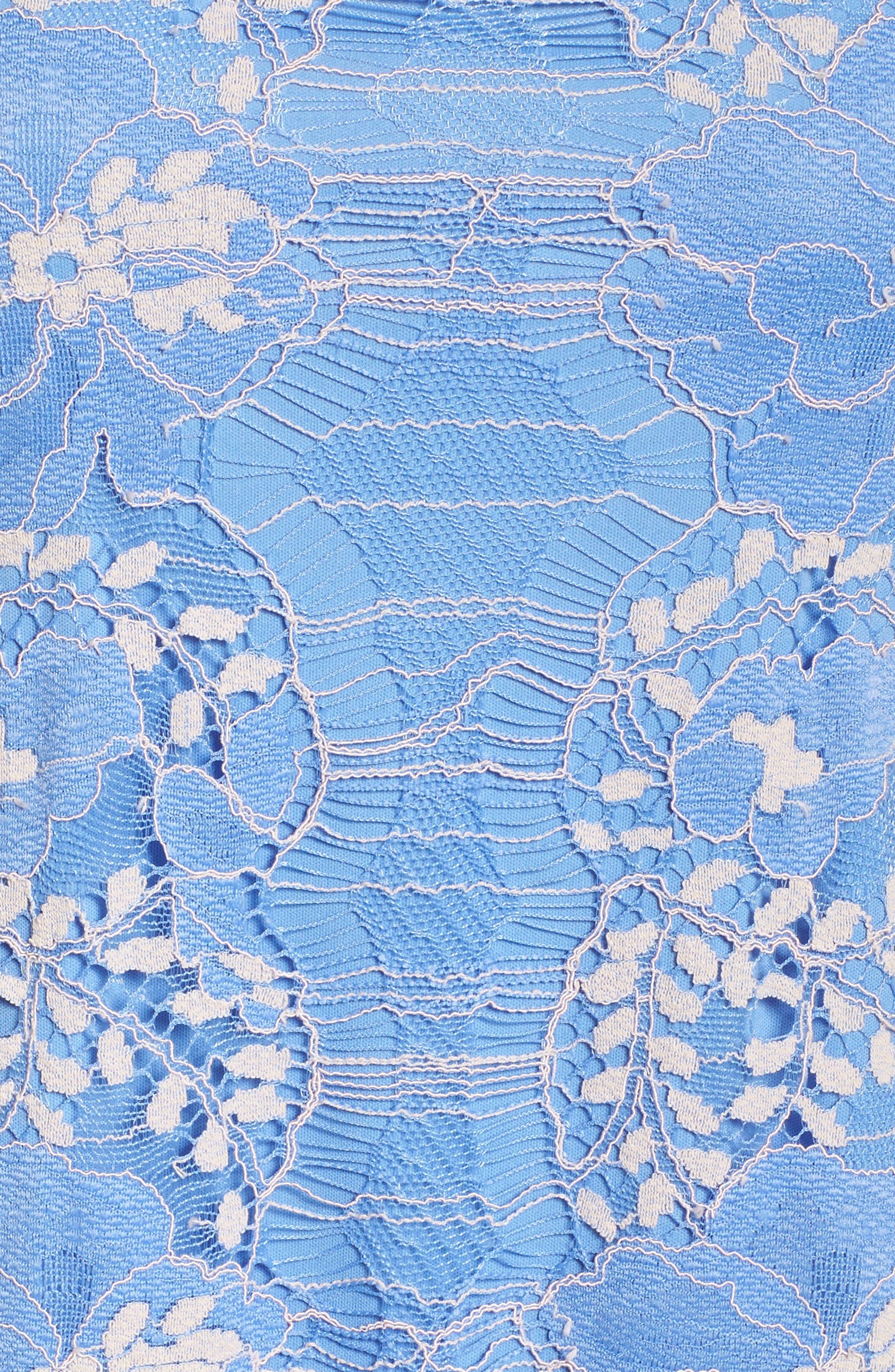Lace Shift Dress,                             Alternate thumbnail 5, color,                             Blue/ Blush