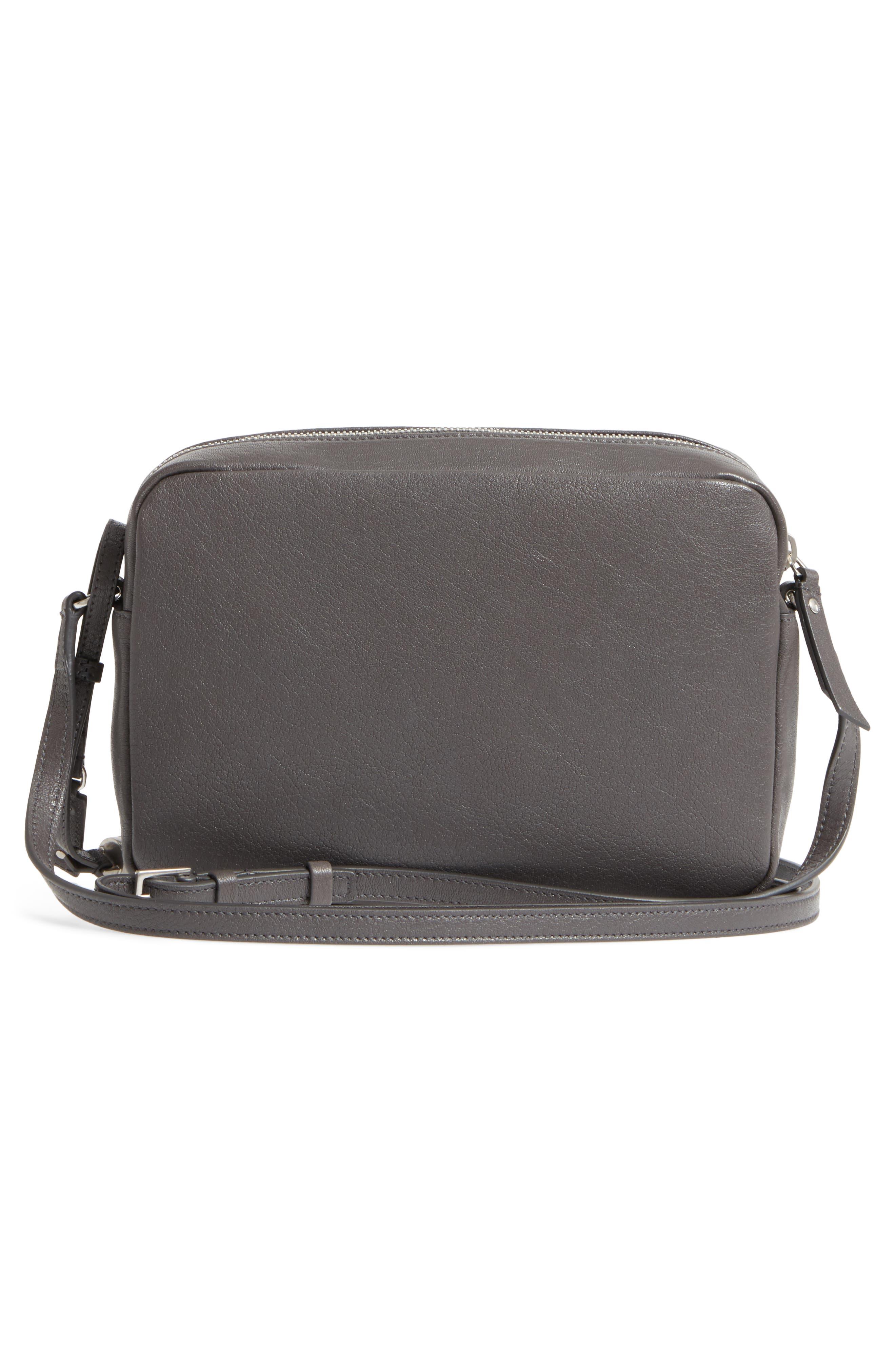 Small Mono Leather Camera Bag,                             Alternate thumbnail 3, color,                             Asphalt