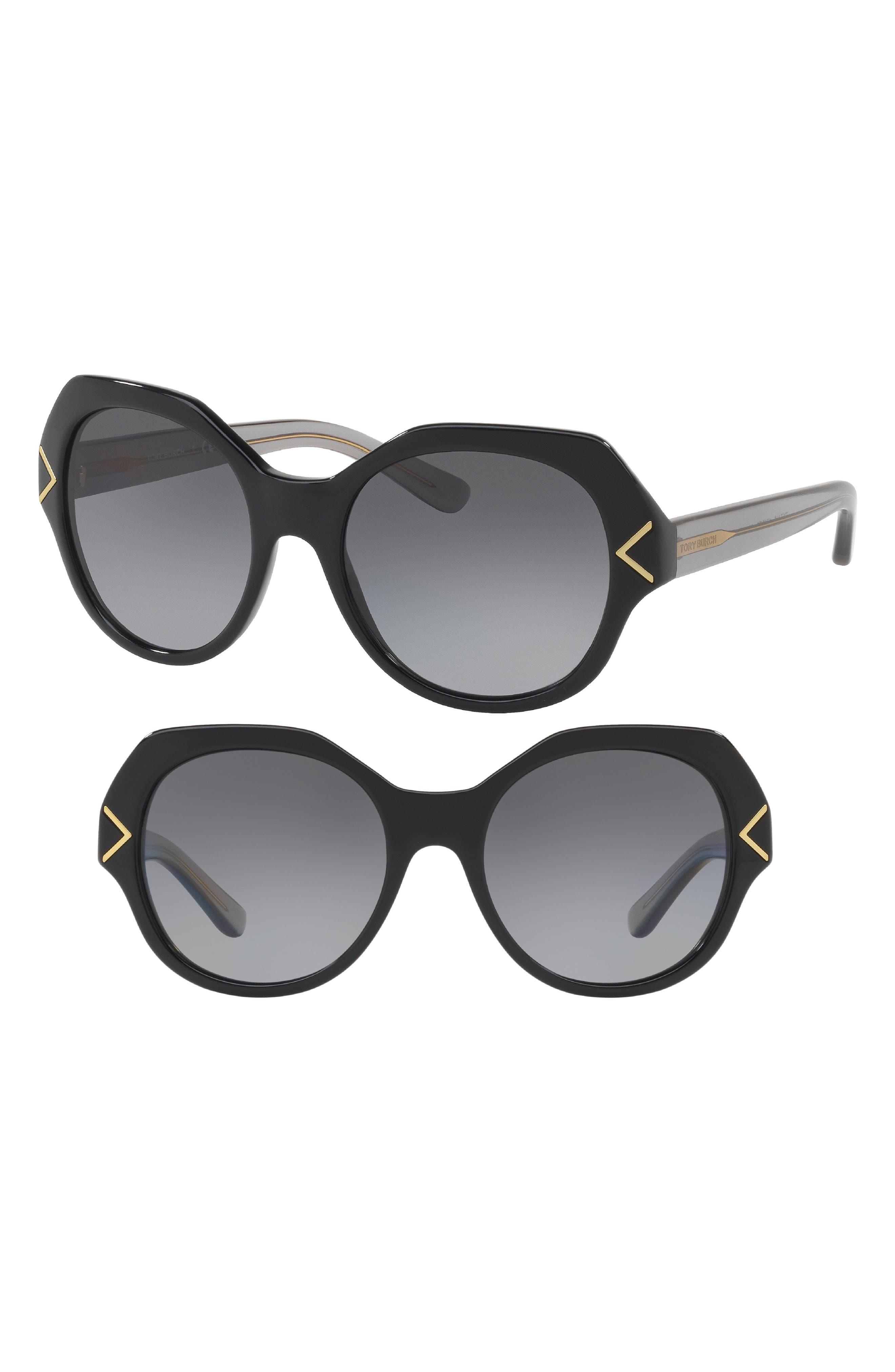 53mm Polarized Gradient Geometric Sunglasses,                         Main,                         color, Black/ Silver