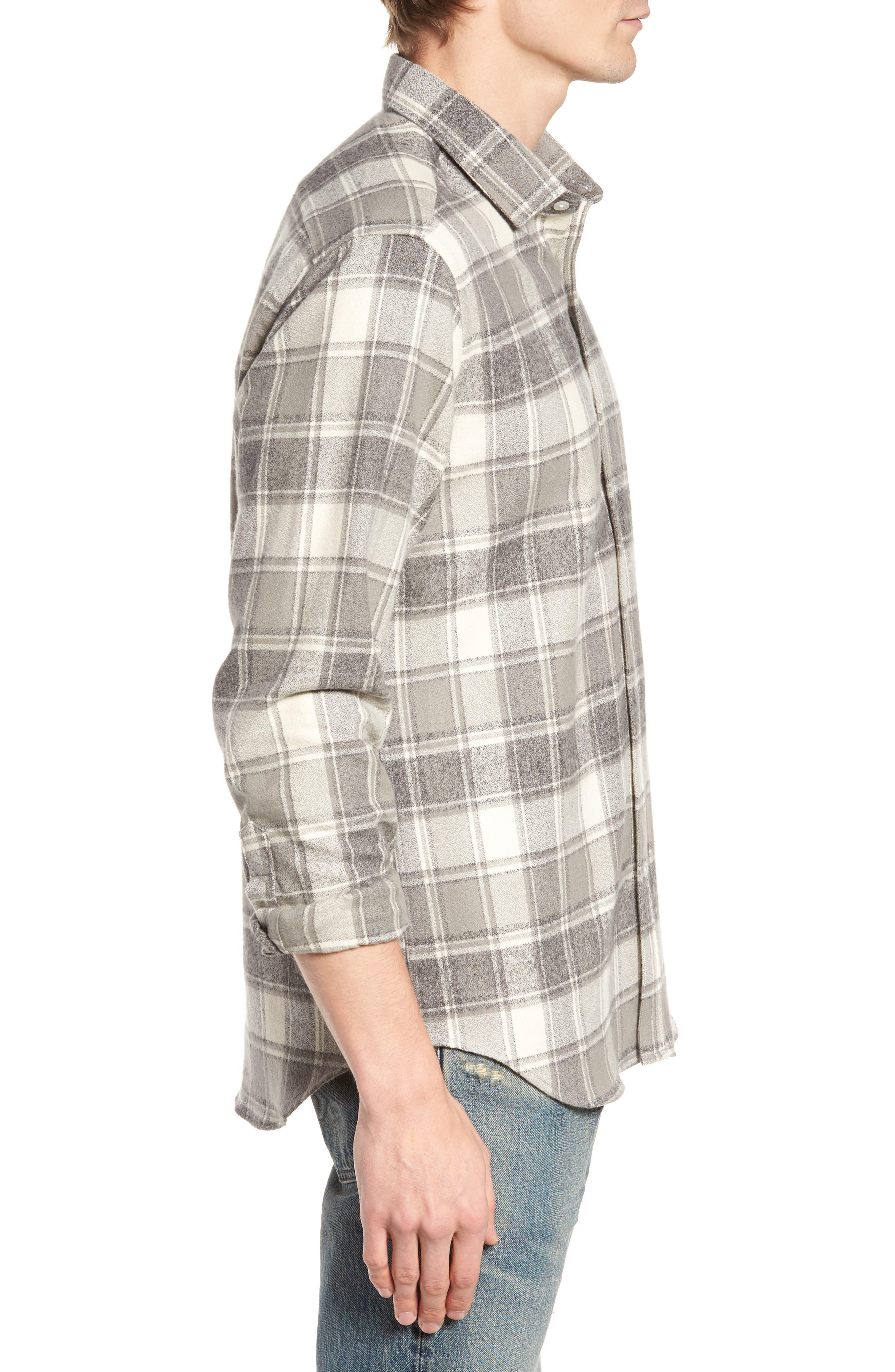 Ma Slim Fit Plaid Sport Shirt,                             Alternate thumbnail 3, color,                             Iron