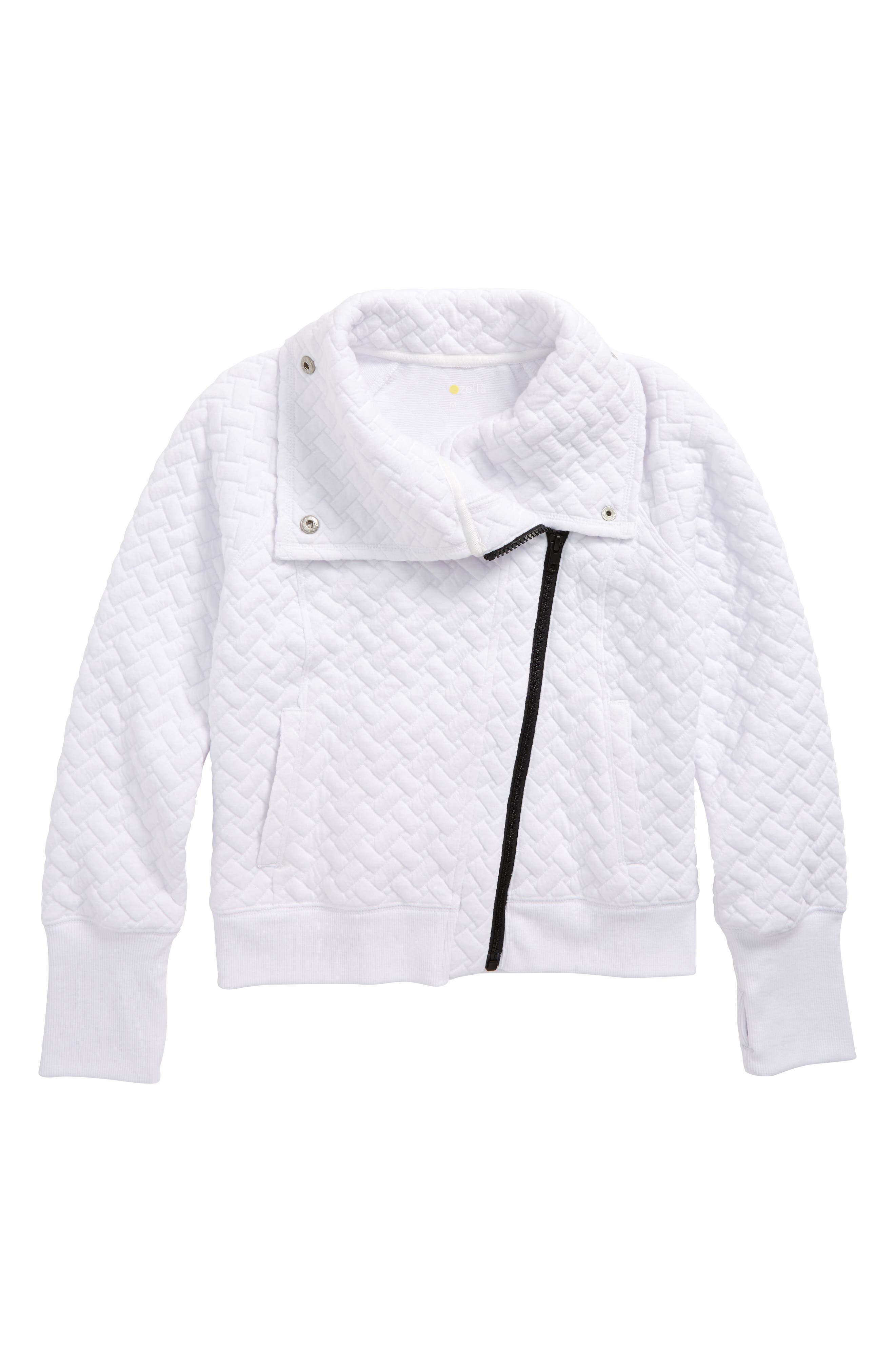 Quilted Moto Jacket,                         Main,                         color, White