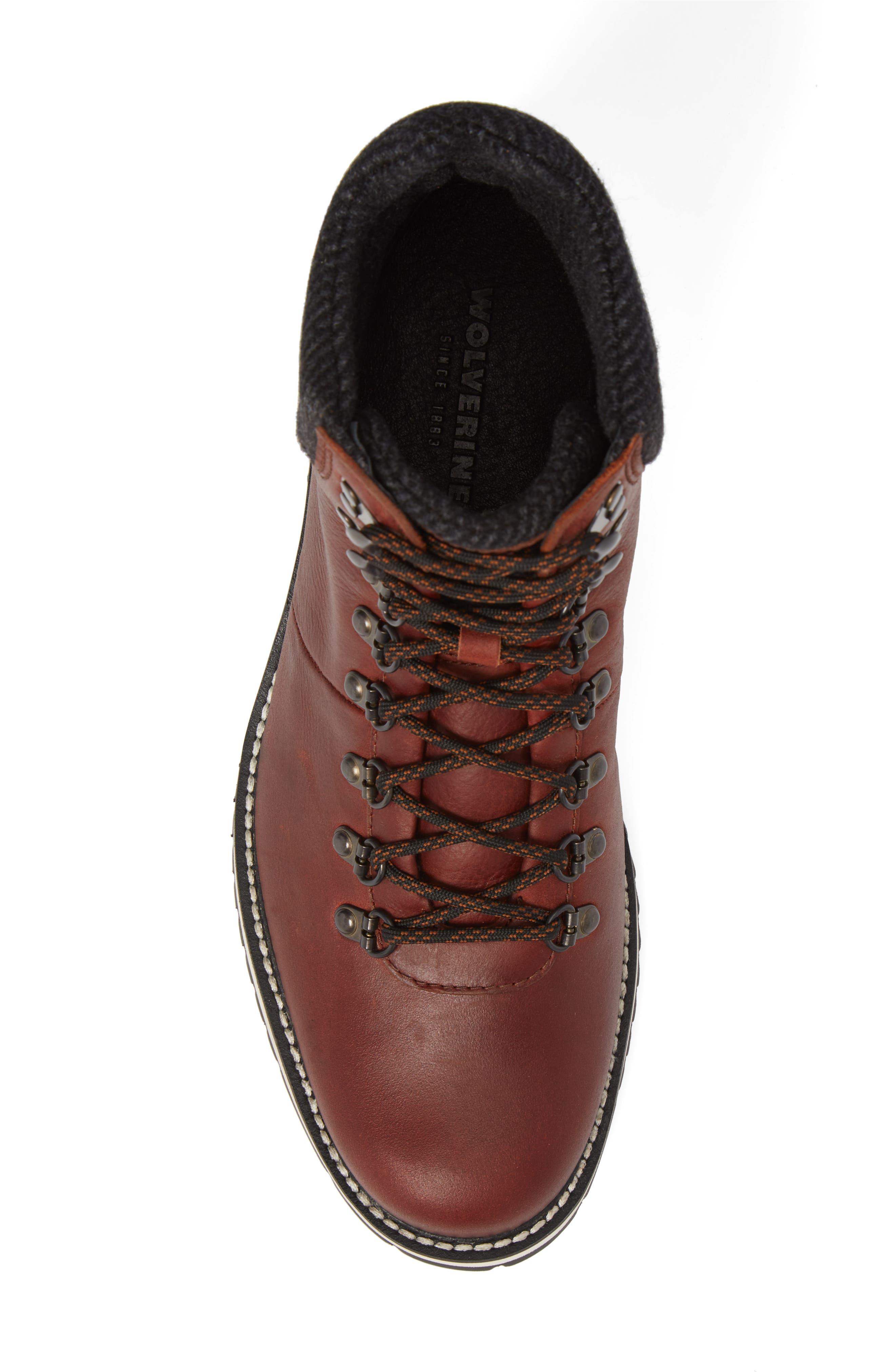 Sidney Waterproof Plain Toe Boot,                             Alternate thumbnail 5, color,                             Brown