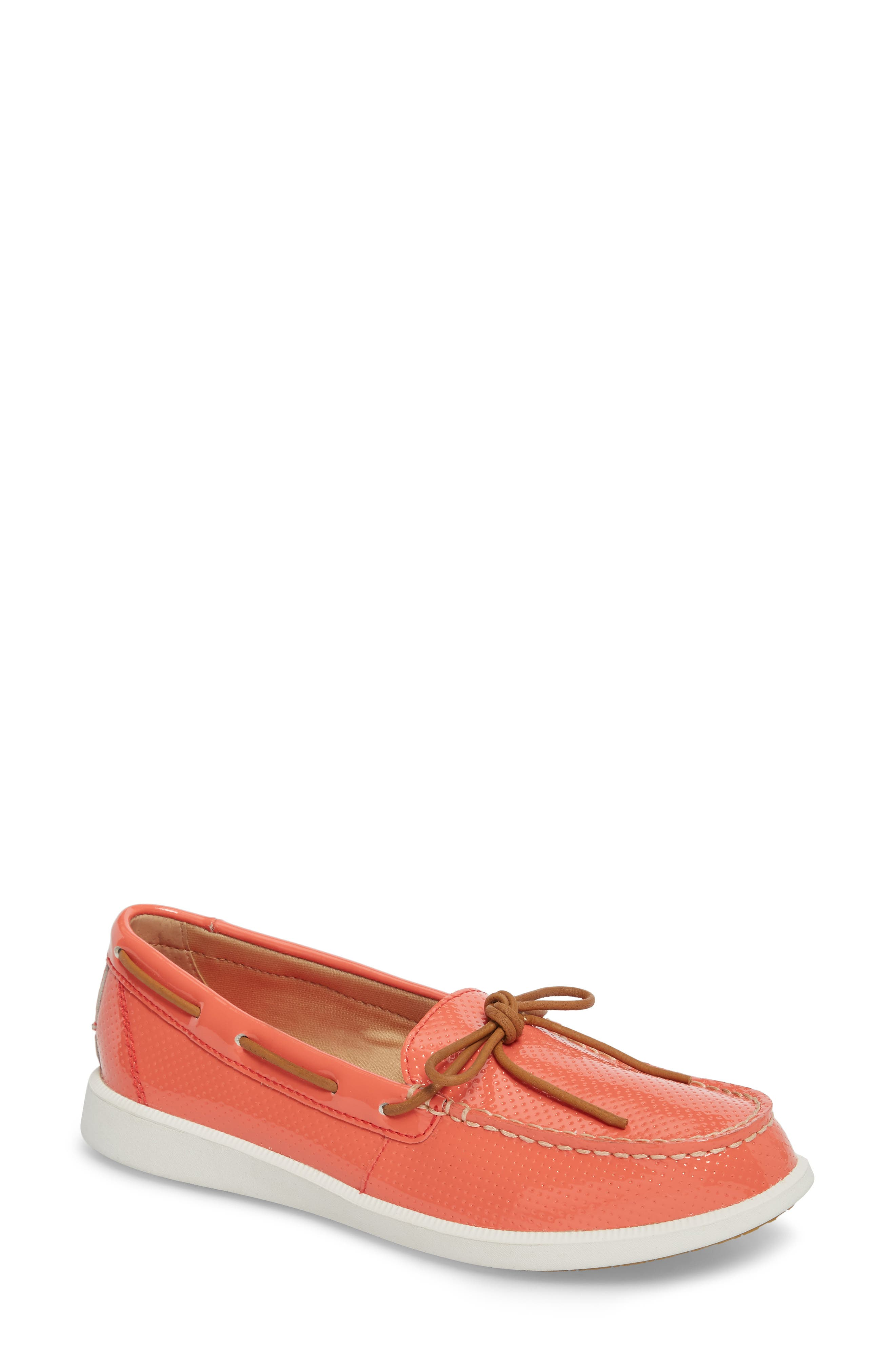 Oasis Boat Shoe,                             Main thumbnail 1, color,                             Coral Patent Leather