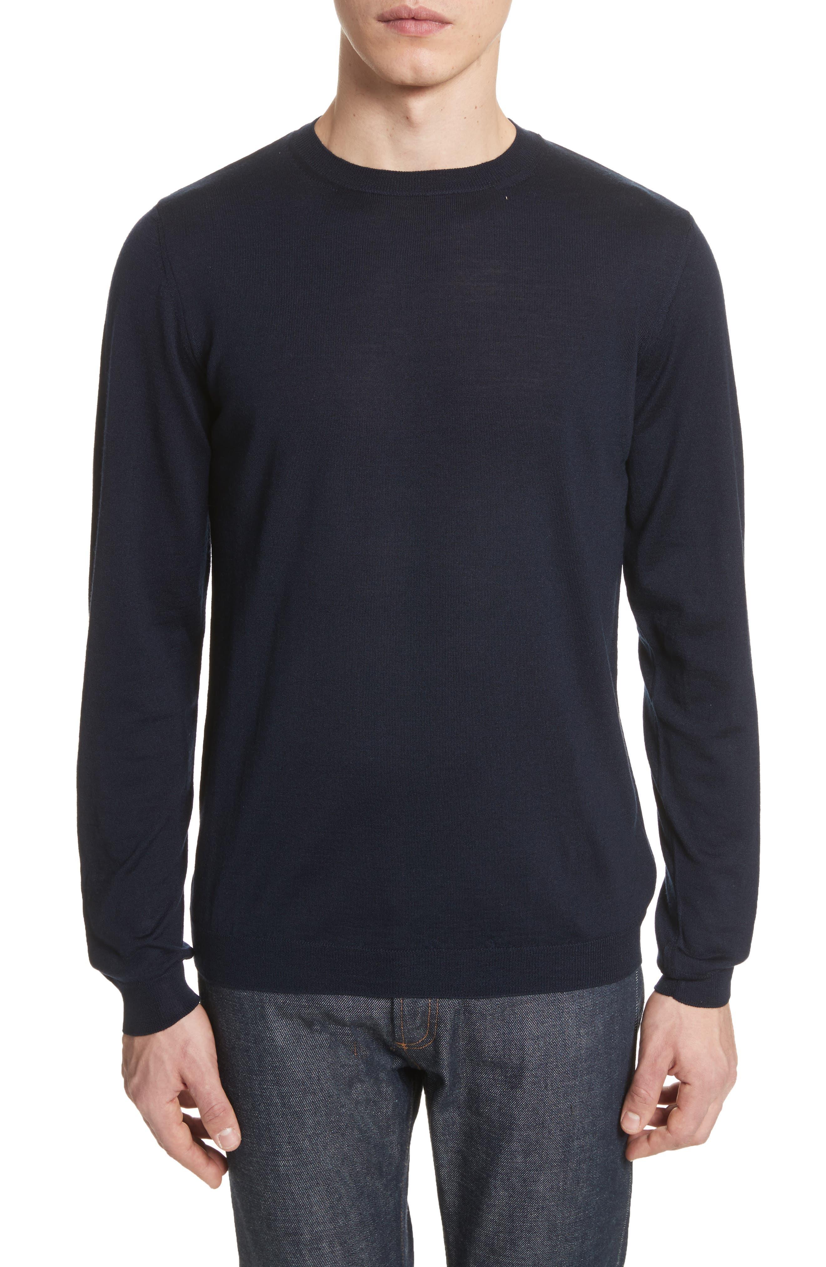 Sigfred Merino Wool & Silk Crewneck Sweater,                             Main thumbnail 1, color,                             Dark Navy