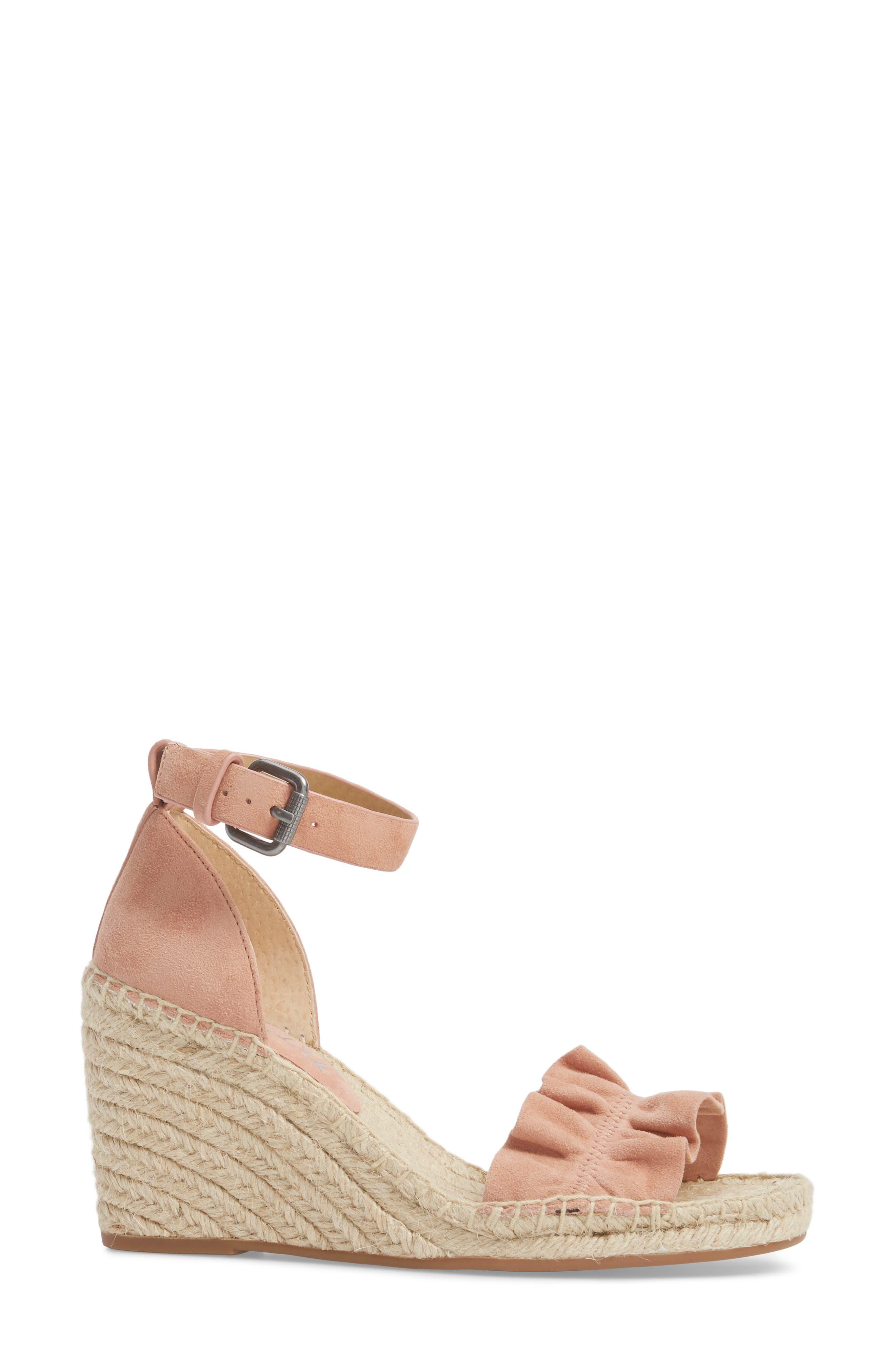 Bedford Espadrille Wedge Sandal,                             Alternate thumbnail 3, color,                             Dark Blush Suede