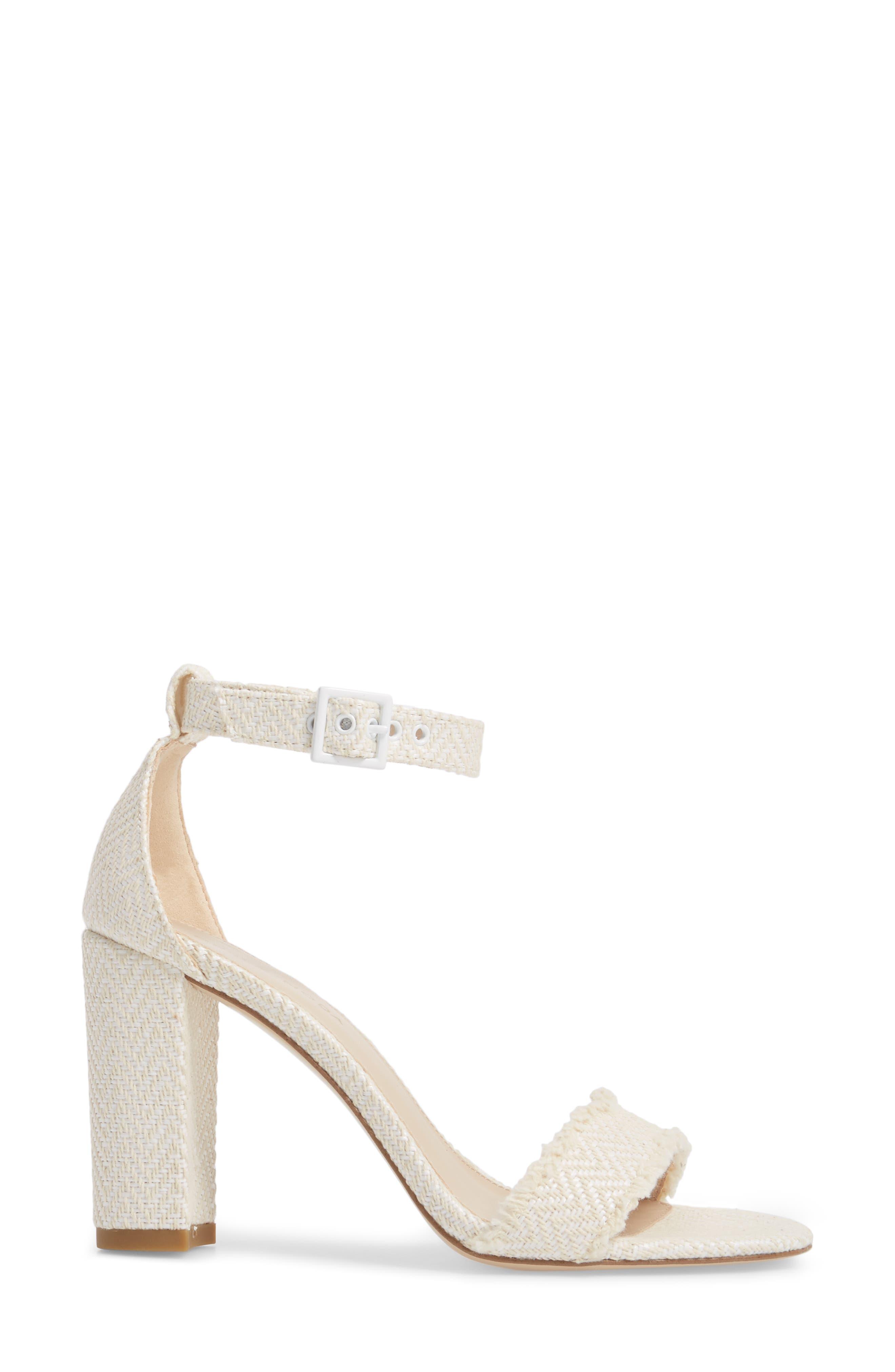 Bonnie Ankle Strap Sandal,                             Alternate thumbnail 3, color,                             White Herringbone