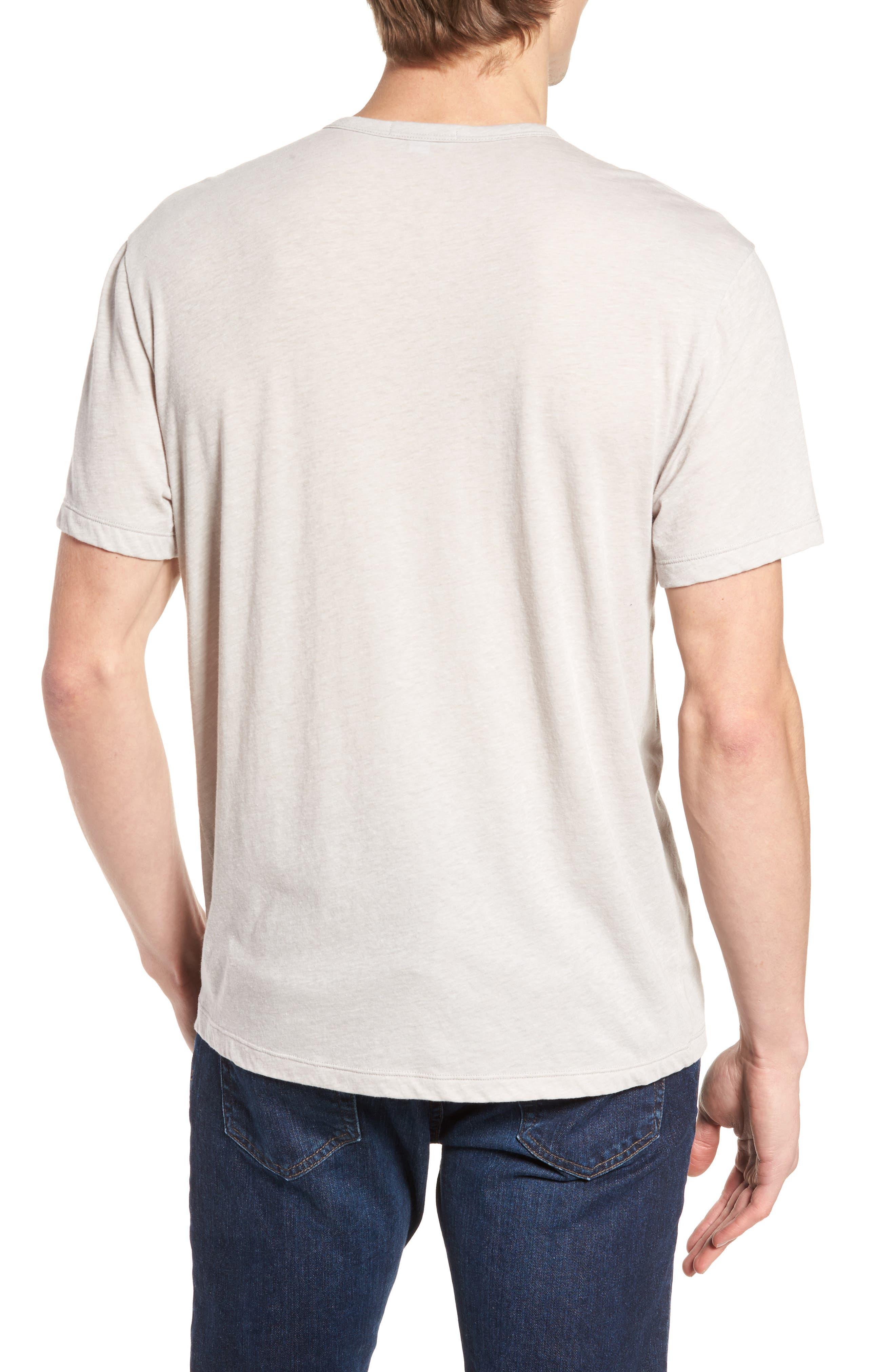 Slubbed Cotton & Linen Pocket T-Shirt,                             Alternate thumbnail 2, color,                             Fossil Melange