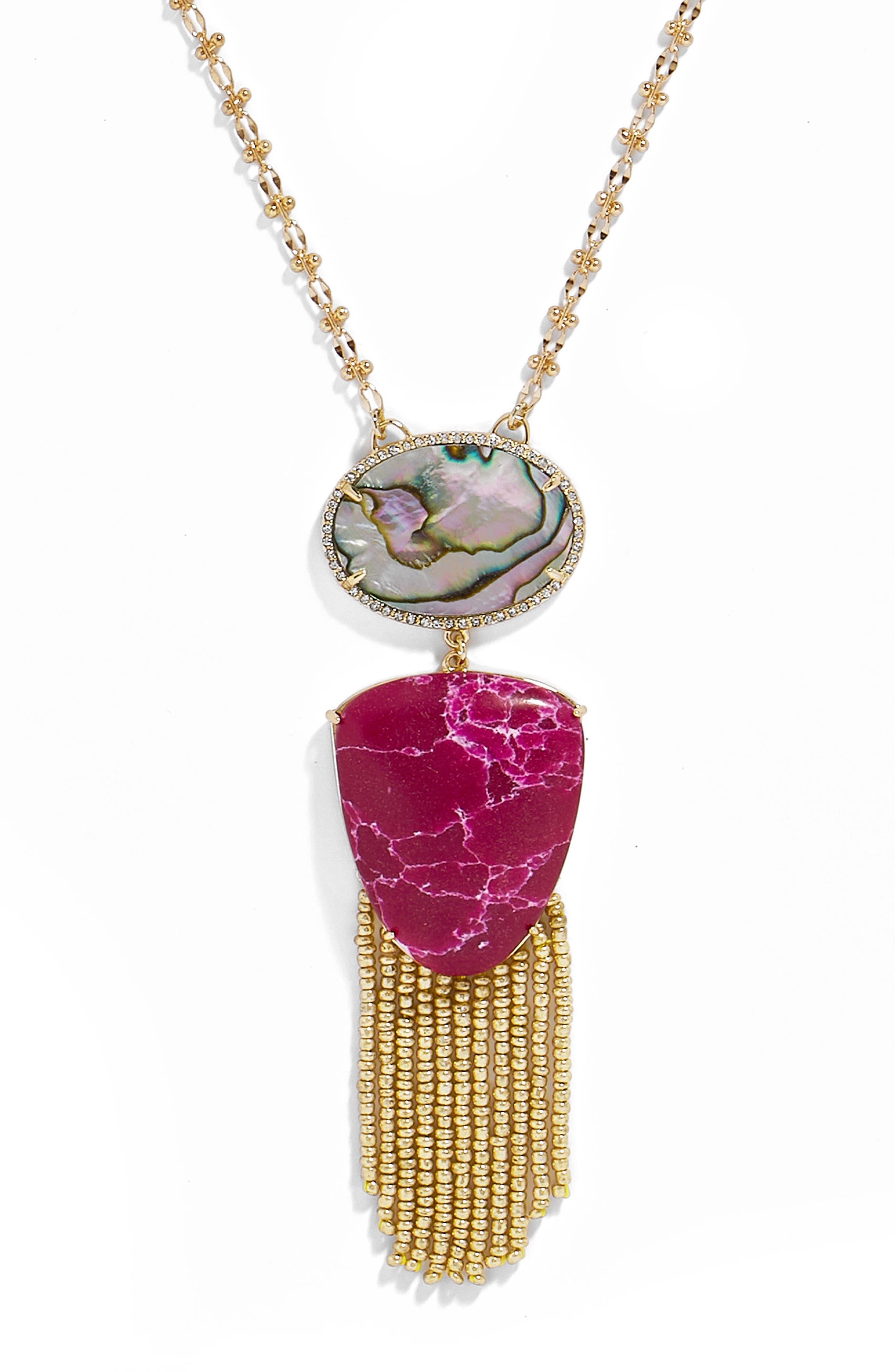 Moonglow Fringe Abalone Pendant Necklace,                             Alternate thumbnail 2, color,                             Fuchsia/ Abalone