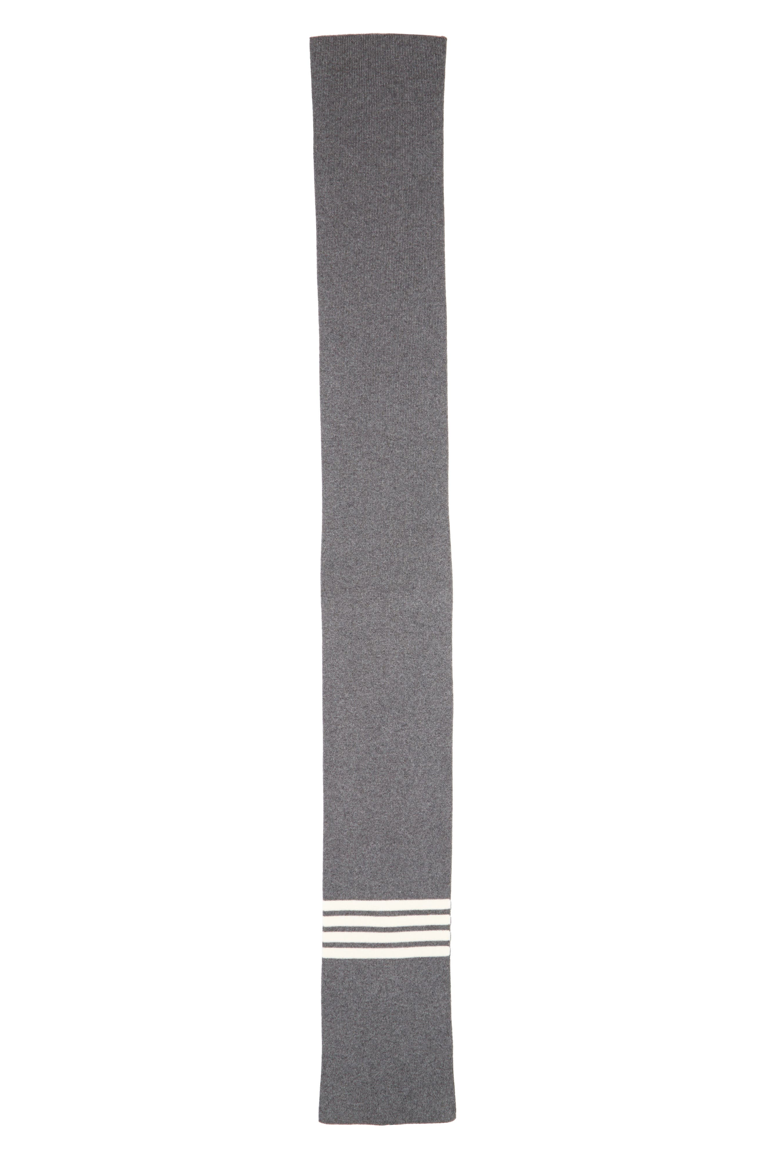 Rib Cashmere Scarf,                             Alternate thumbnail 2, color,                             Med Grey