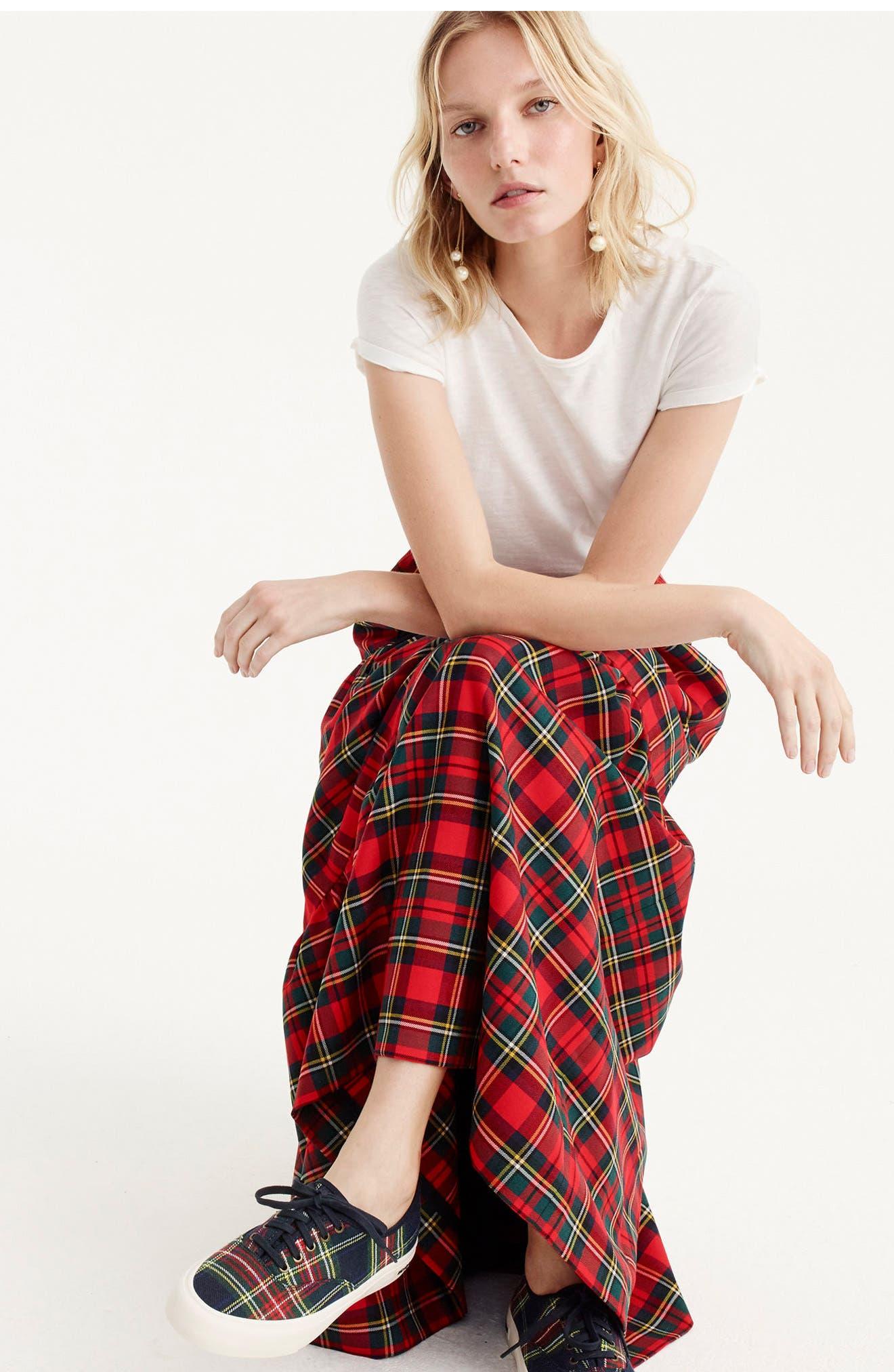Alternate Image 2  - J.Crew Tartan Plaid Tiered Maxi Skirt (Regular & Petite)
