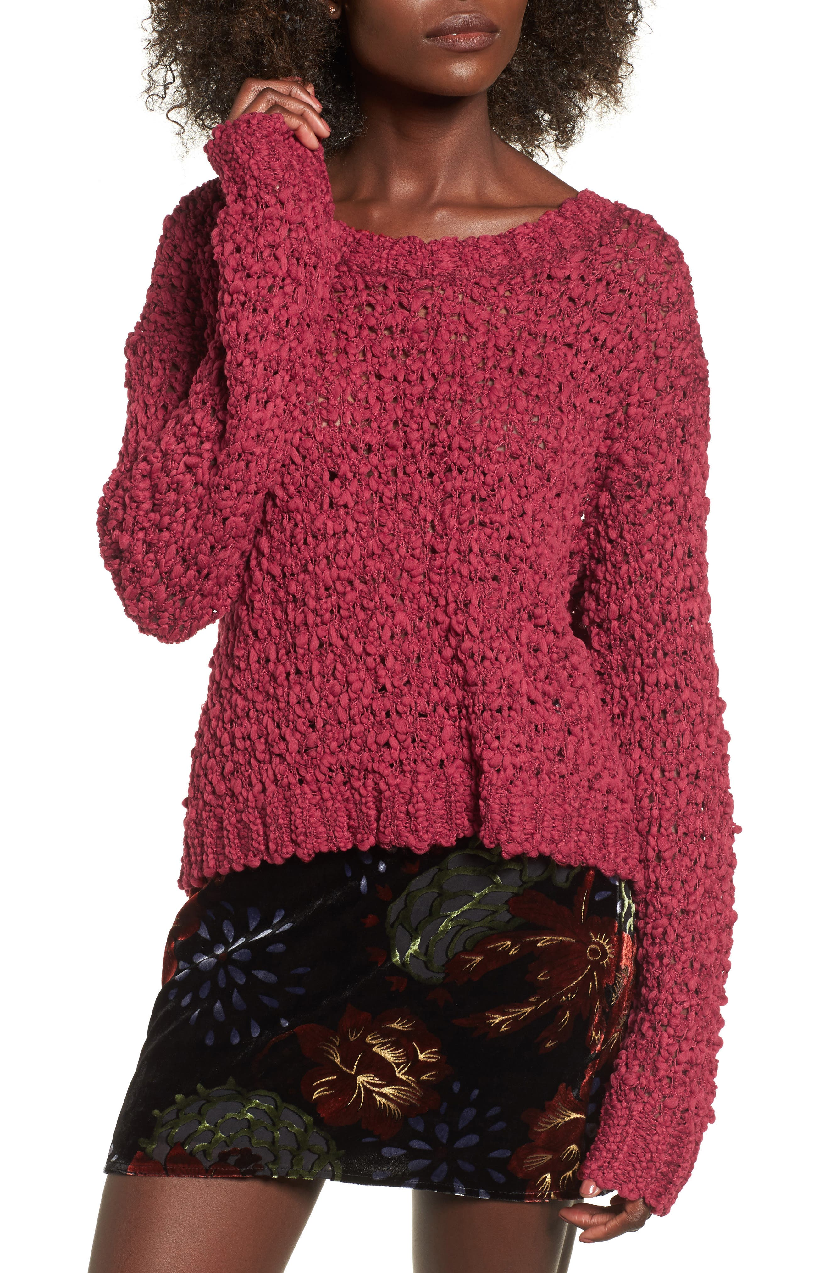 Knit Sweater,                         Main,                         color, Rouge