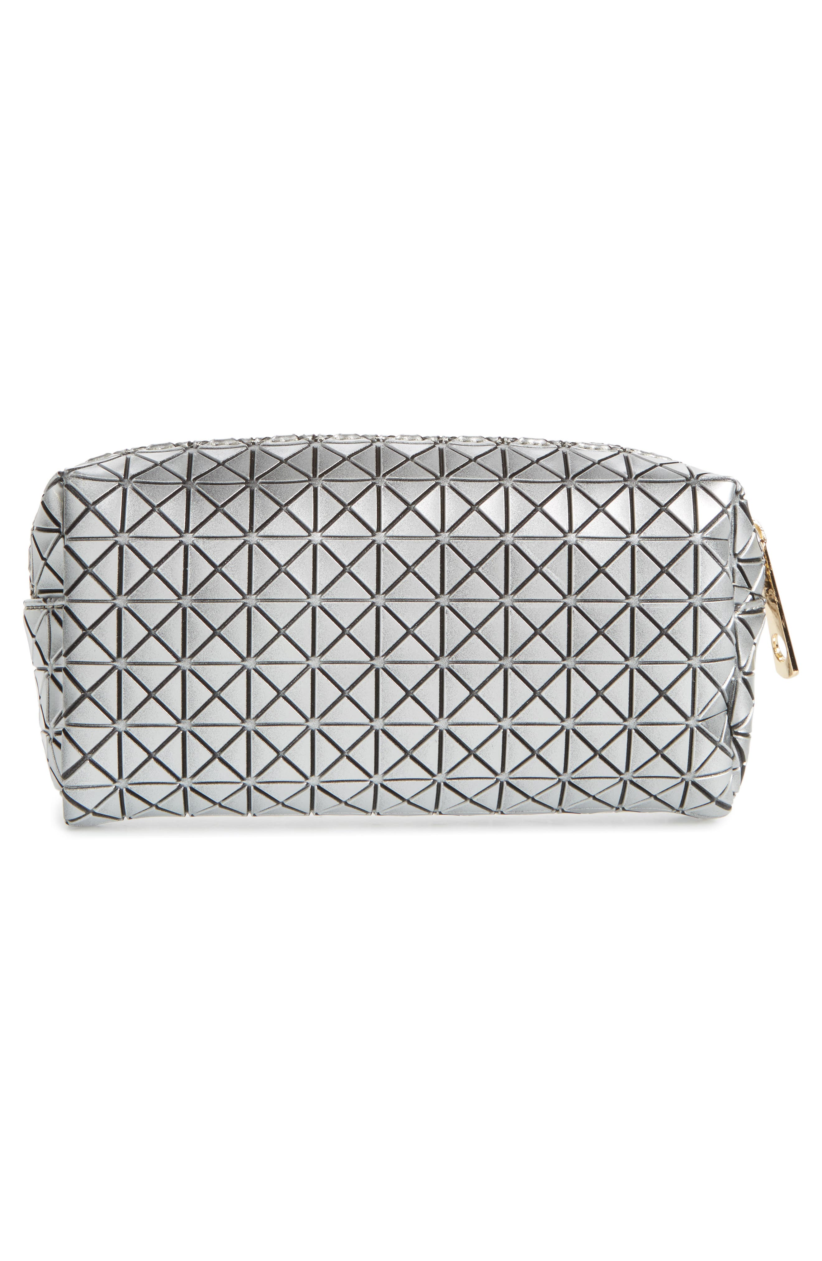Diamond Embossed Cosmetics Bag,                             Alternate thumbnail 2, color,                             Silver