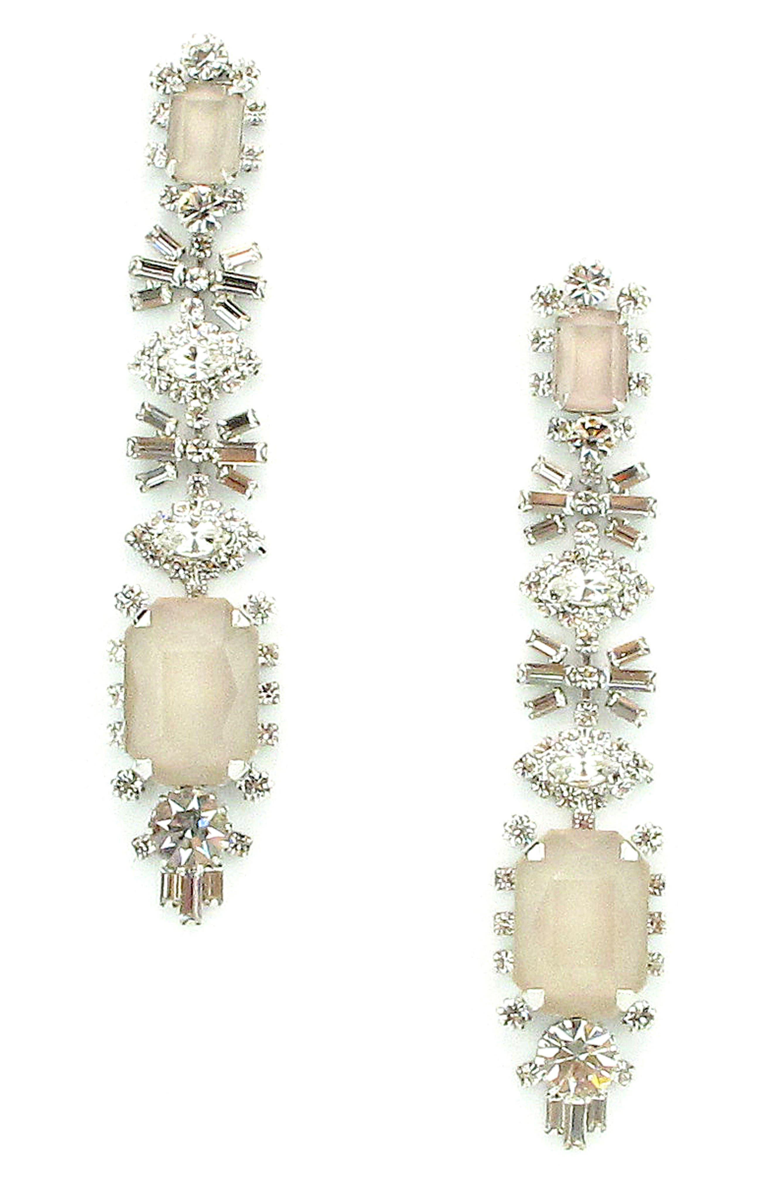Phee Crystal Drop Earrings,                             Main thumbnail 1, color,                             Nude