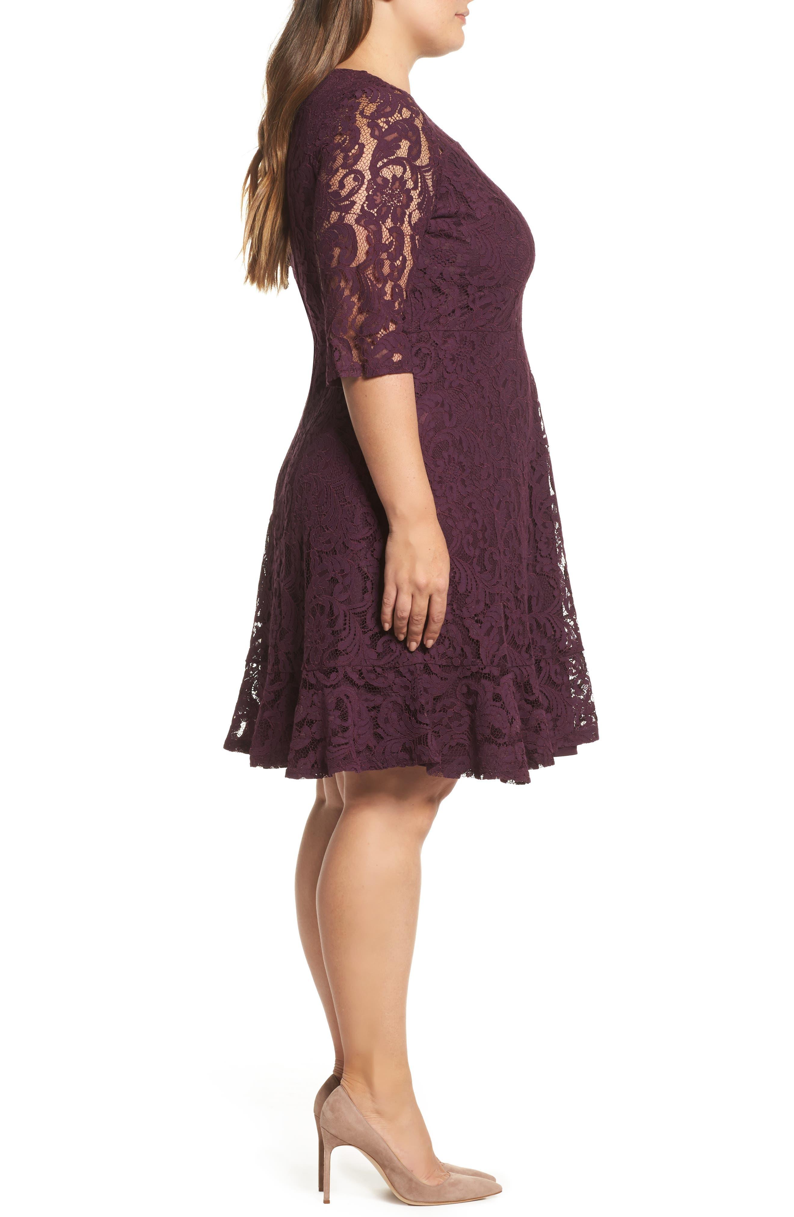 Lace Fit & Flare Dress,                             Alternate thumbnail 3, color,                             Burgundy